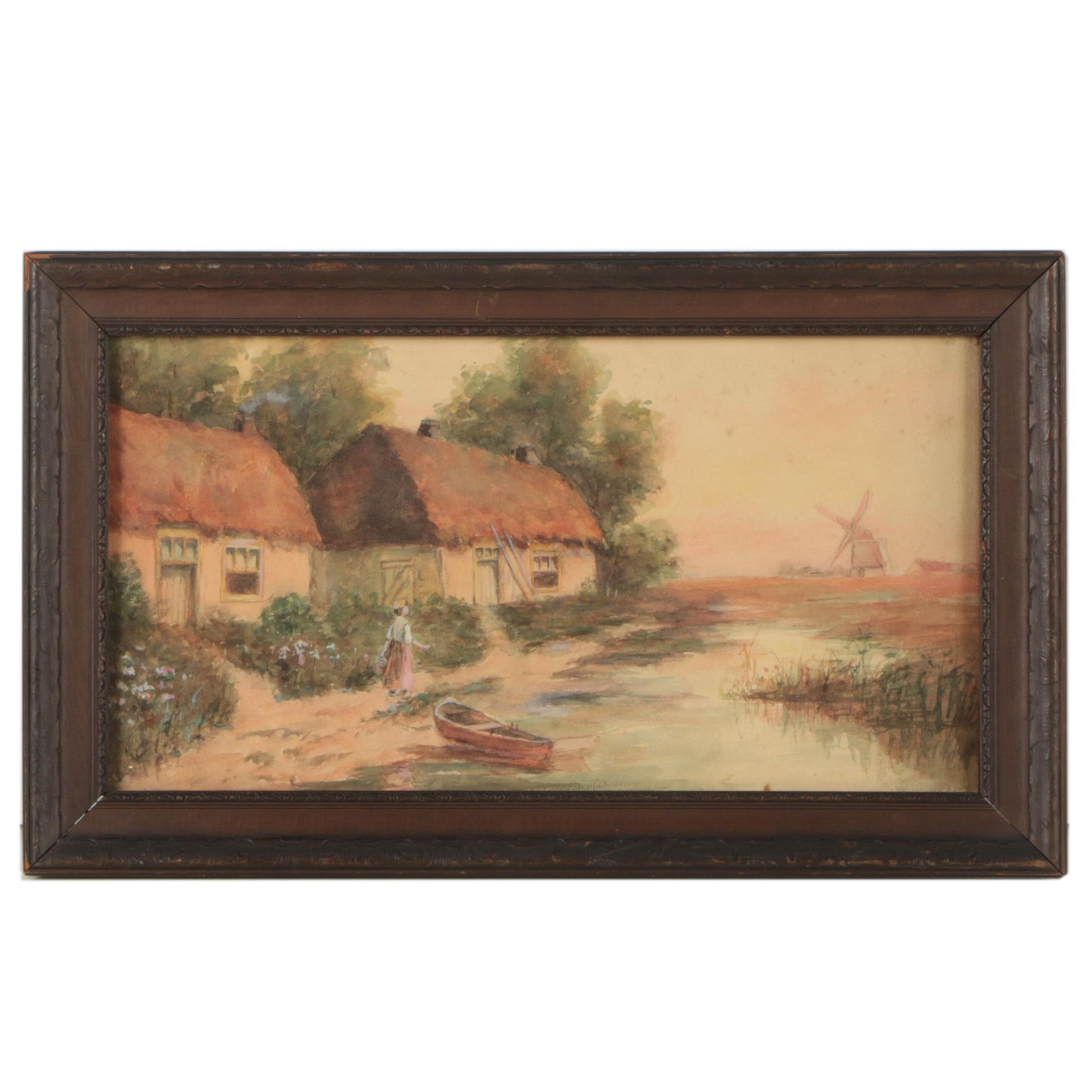 Watercolor of a Dutch Village