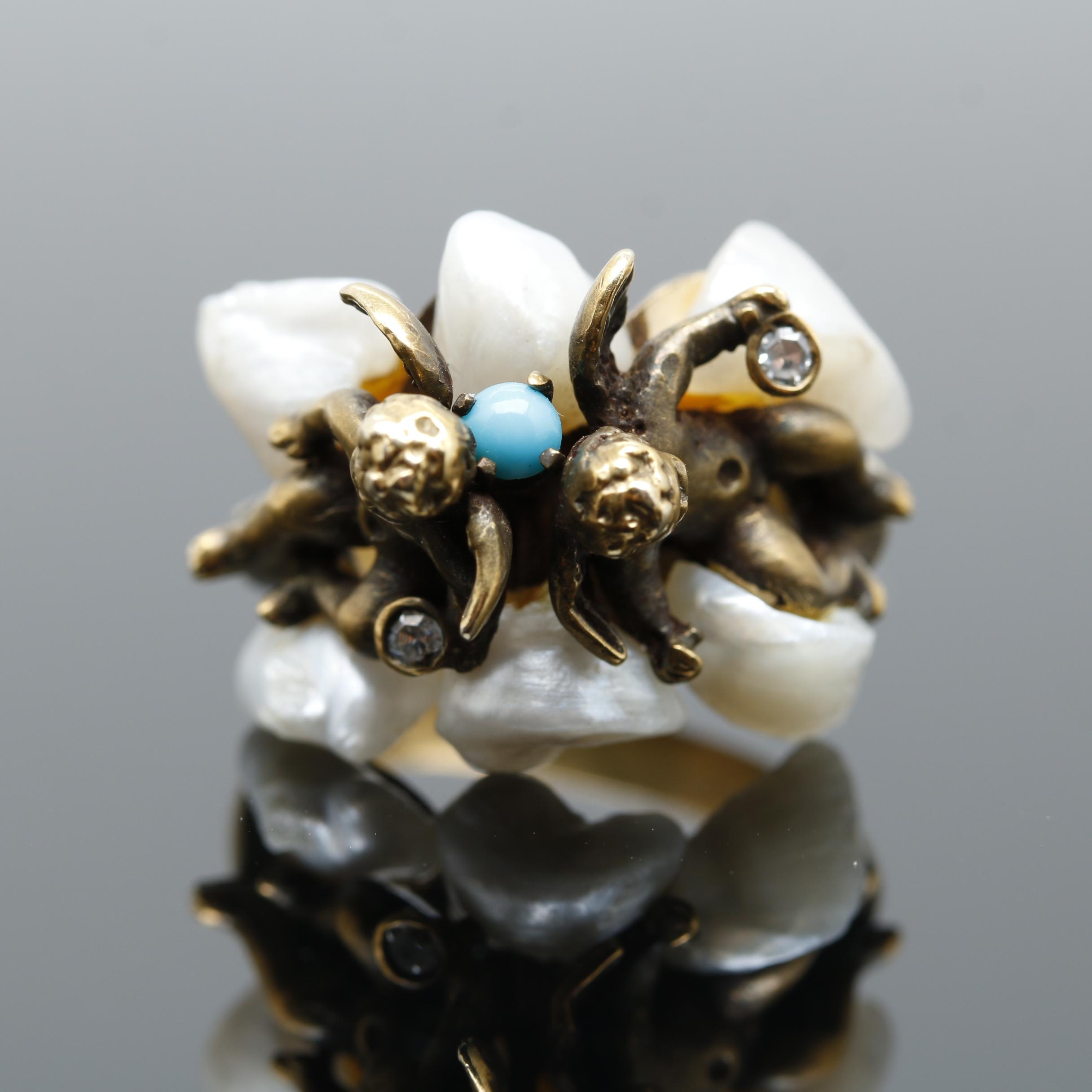 Antique 14K Yellow Gold Turquoise, Pearl and Diamond Cherub Ring