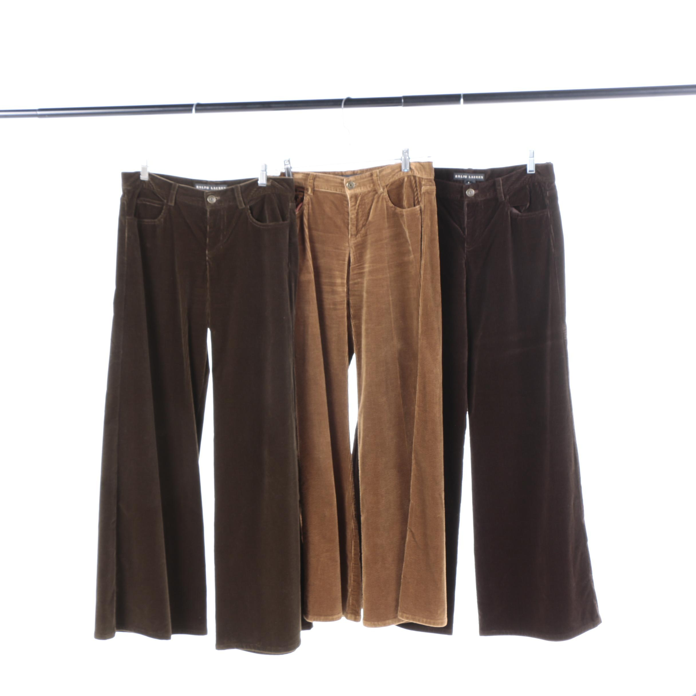 Women's Ralph Lauren Black Label Wide Leg Corduroy Pants