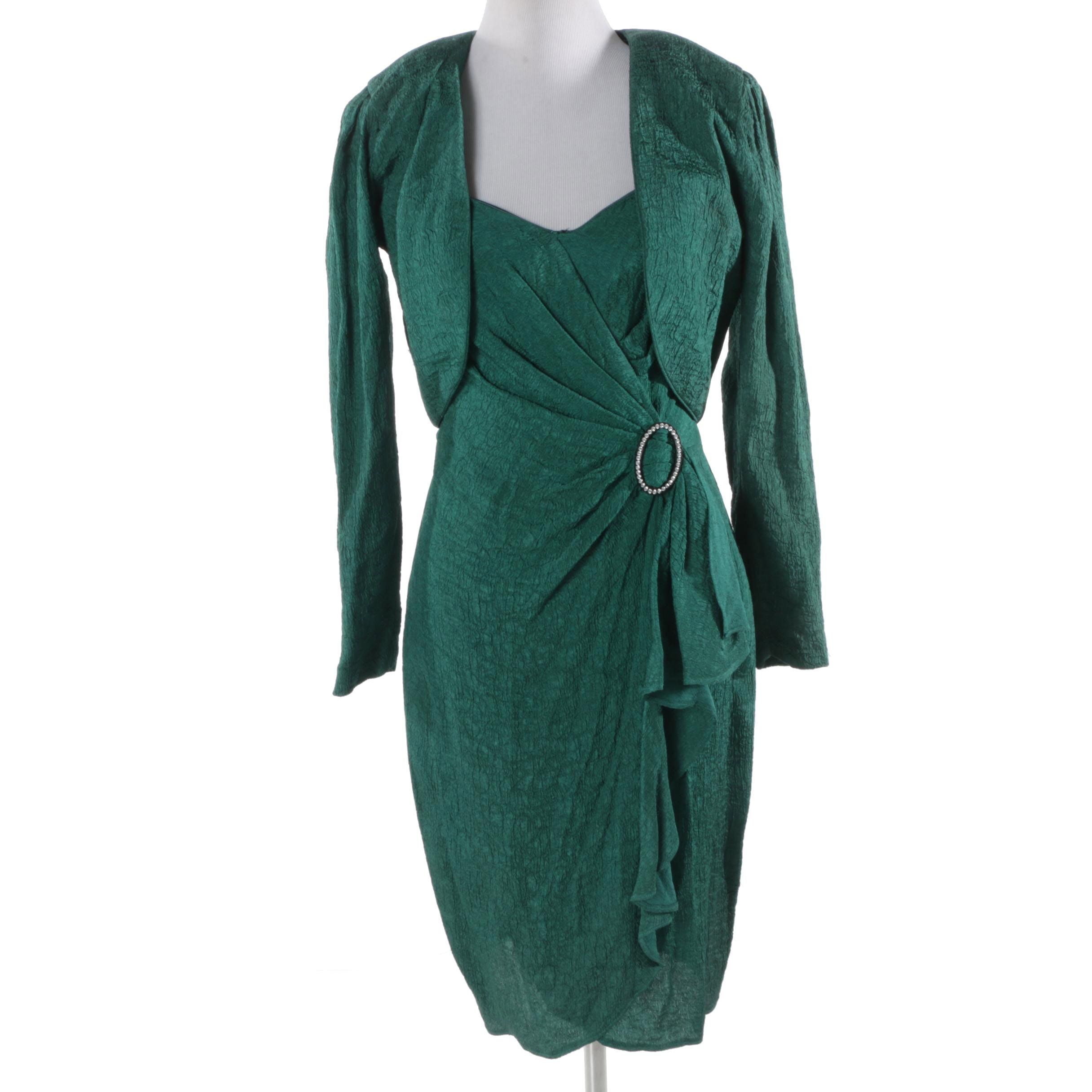 BB Collection Teal Sleeveless Dress with Jacket