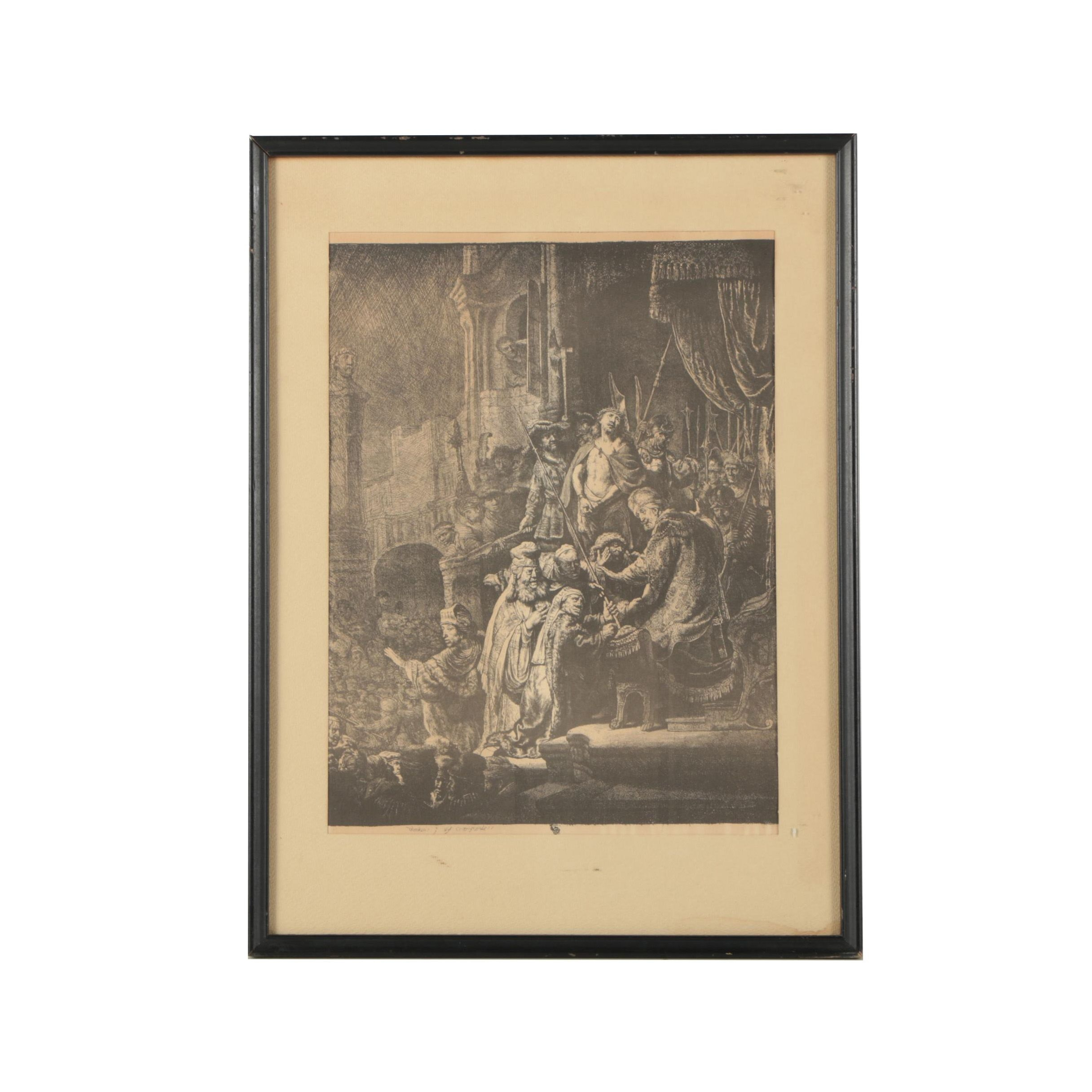 "Reproduction Lithograph after Rembrandt Etching ""Christ Before Pilate"""