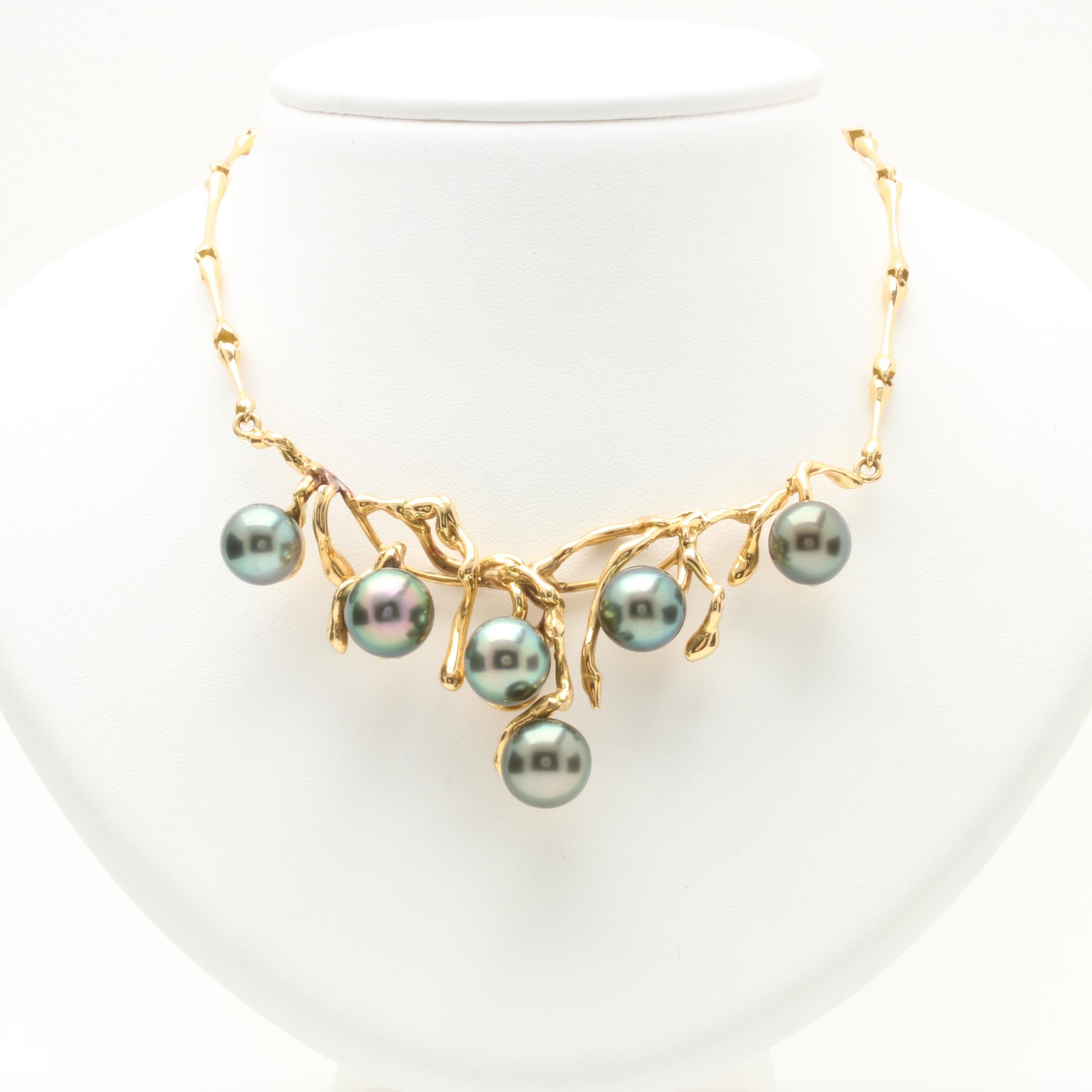 18K Yellow Gold Tahitian Pearl Necklace