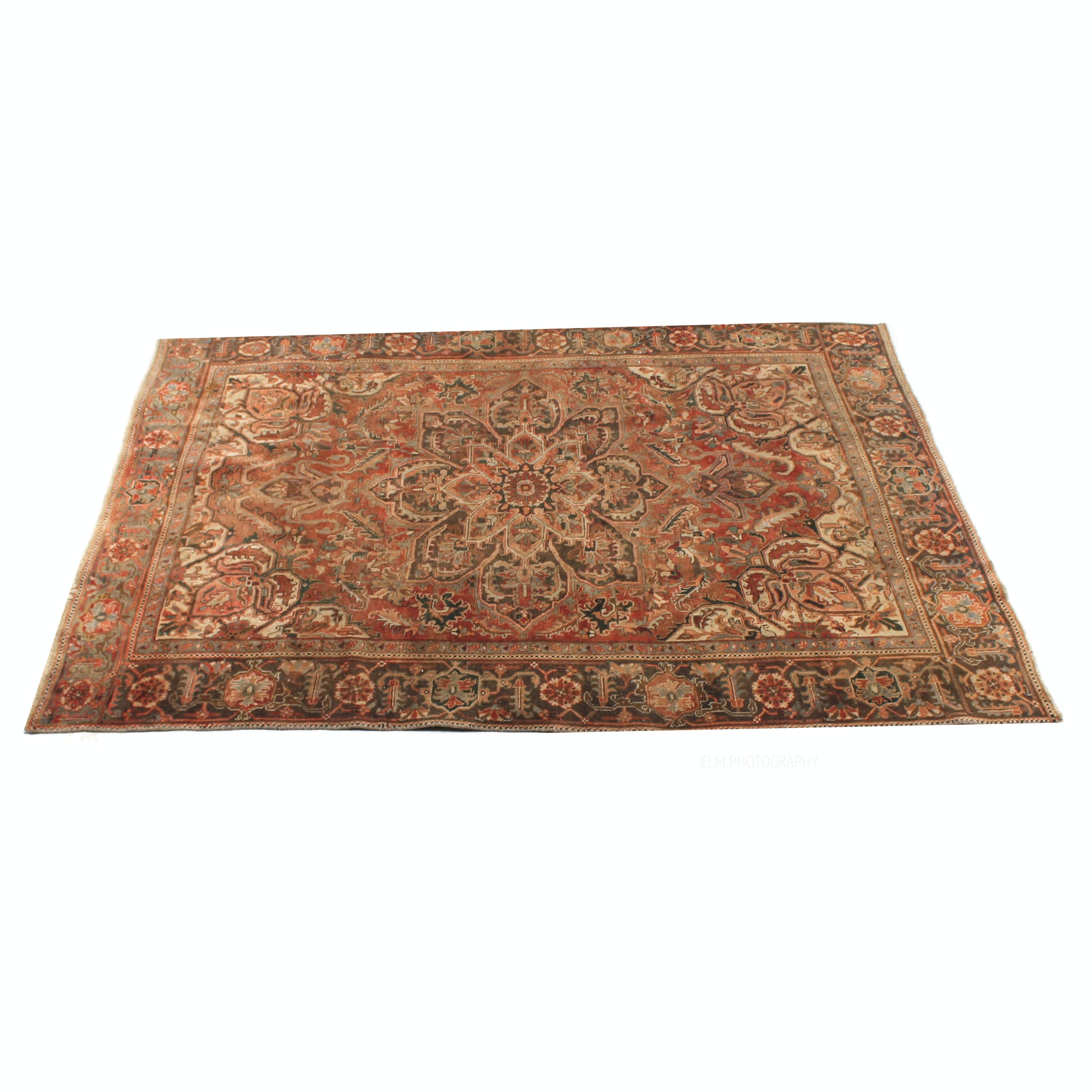 Semi-Antique Hand-Knotted Persian Heriz Serapi Area Rug