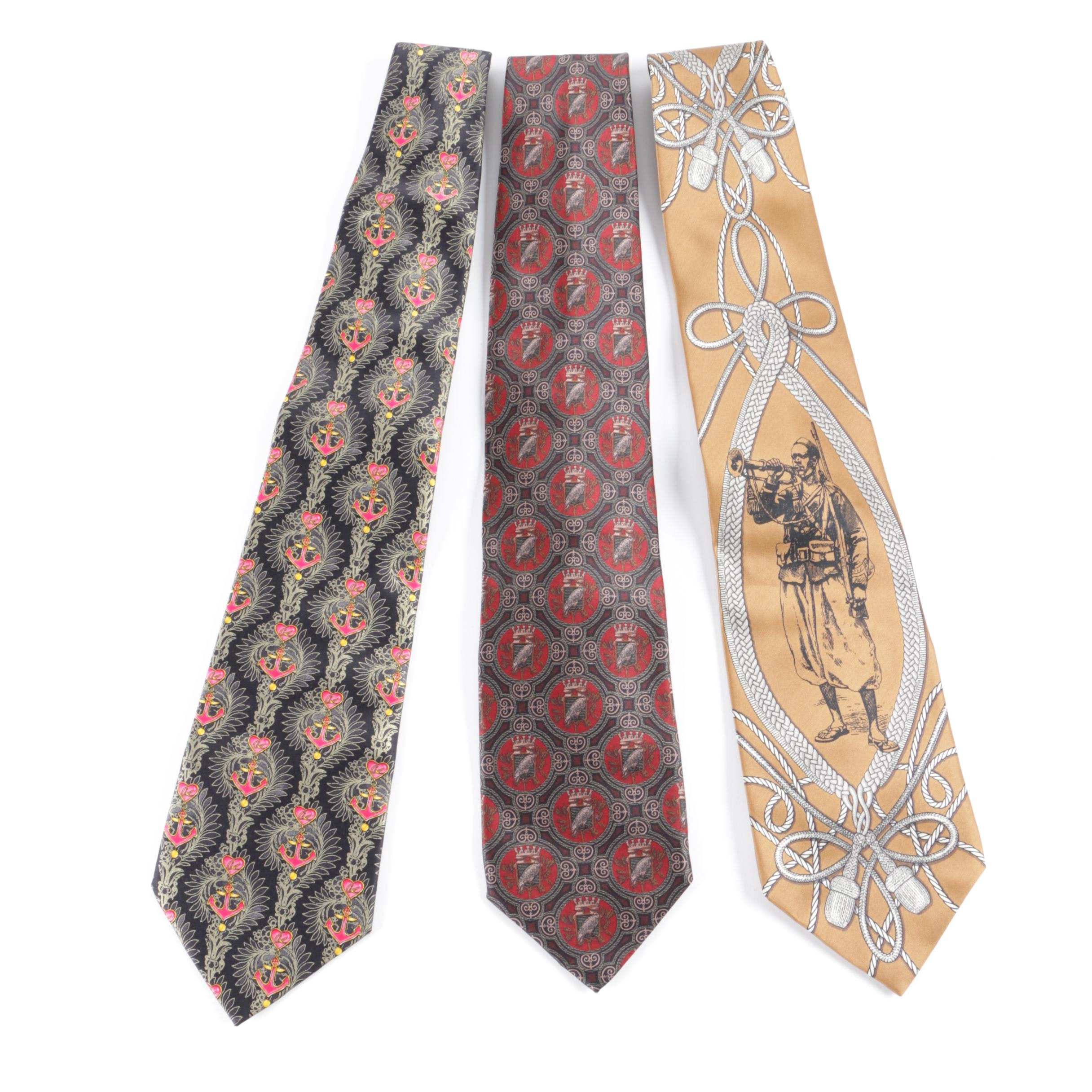 Christian Lacroix of Paris and Gianfranco Ferre Silk Neckties, Made in Italy