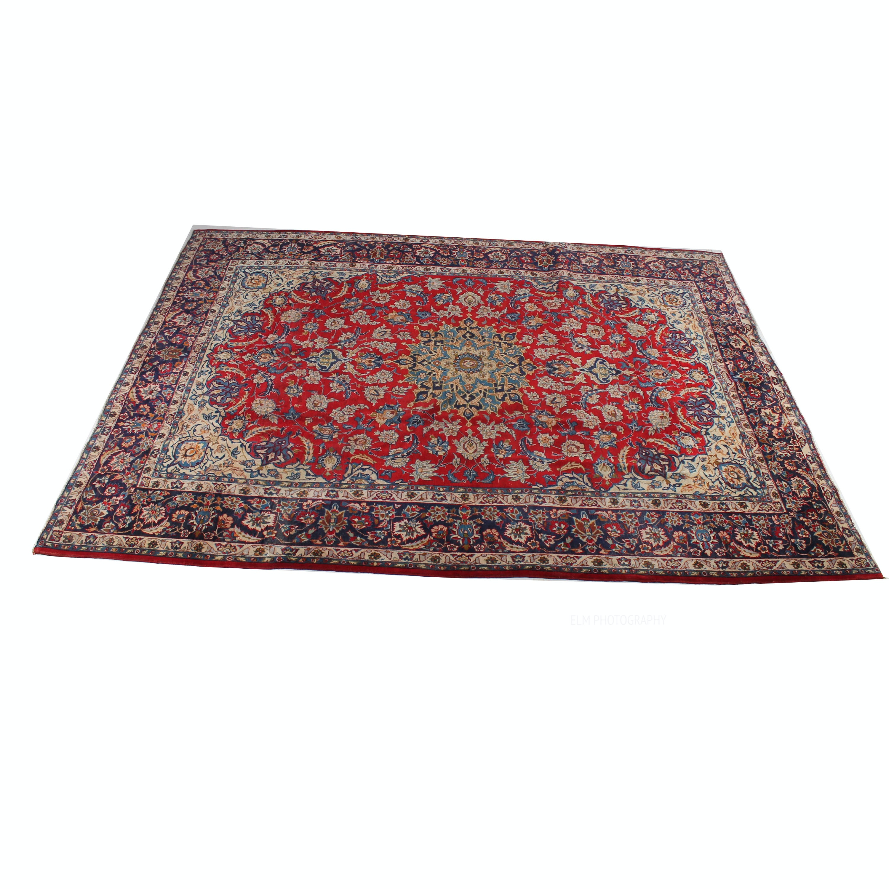 Semi-Antique Hand-Knotted Persian Qum Room Size Rug