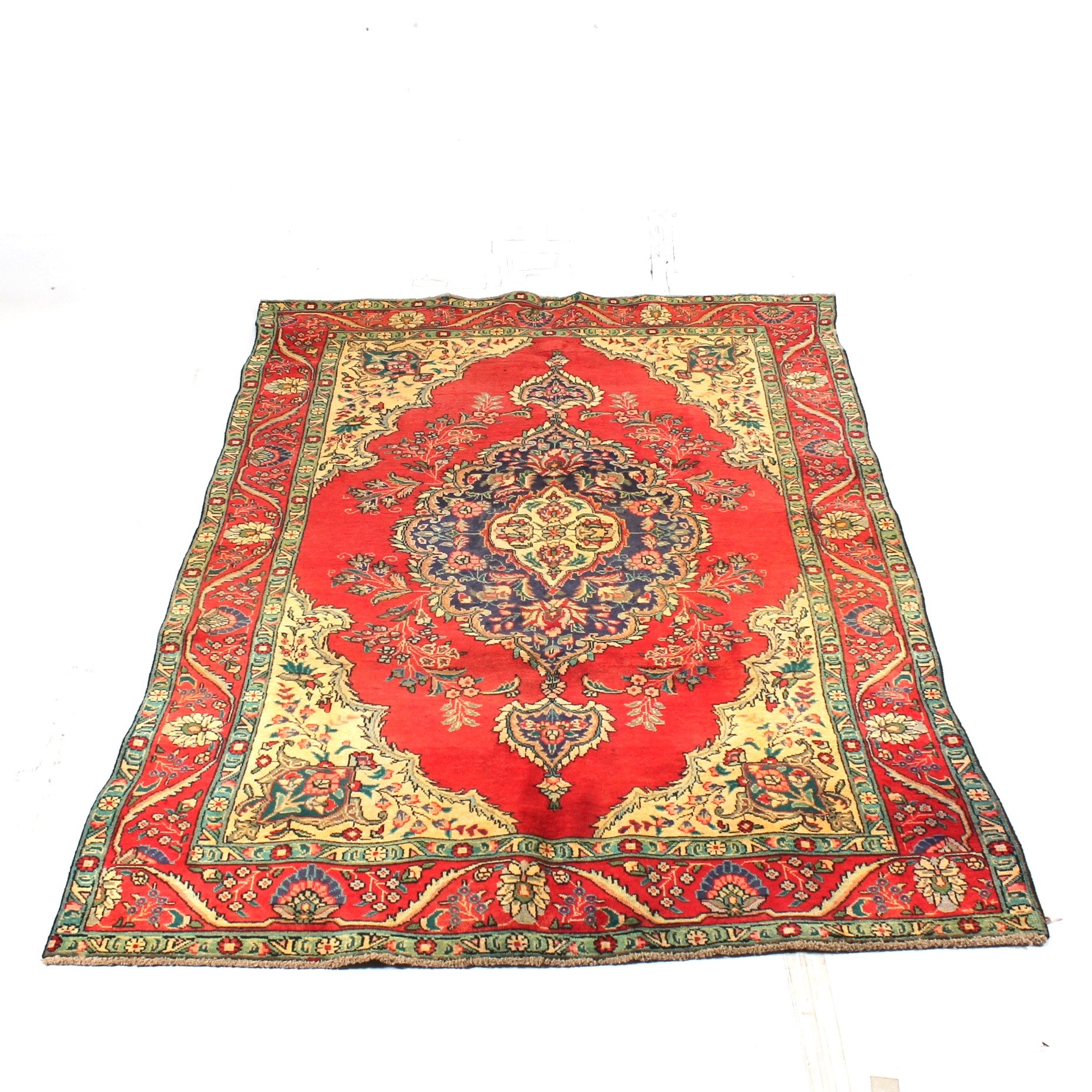 Vintage Hand-Knotted Persian Tabriz Room Size Rug