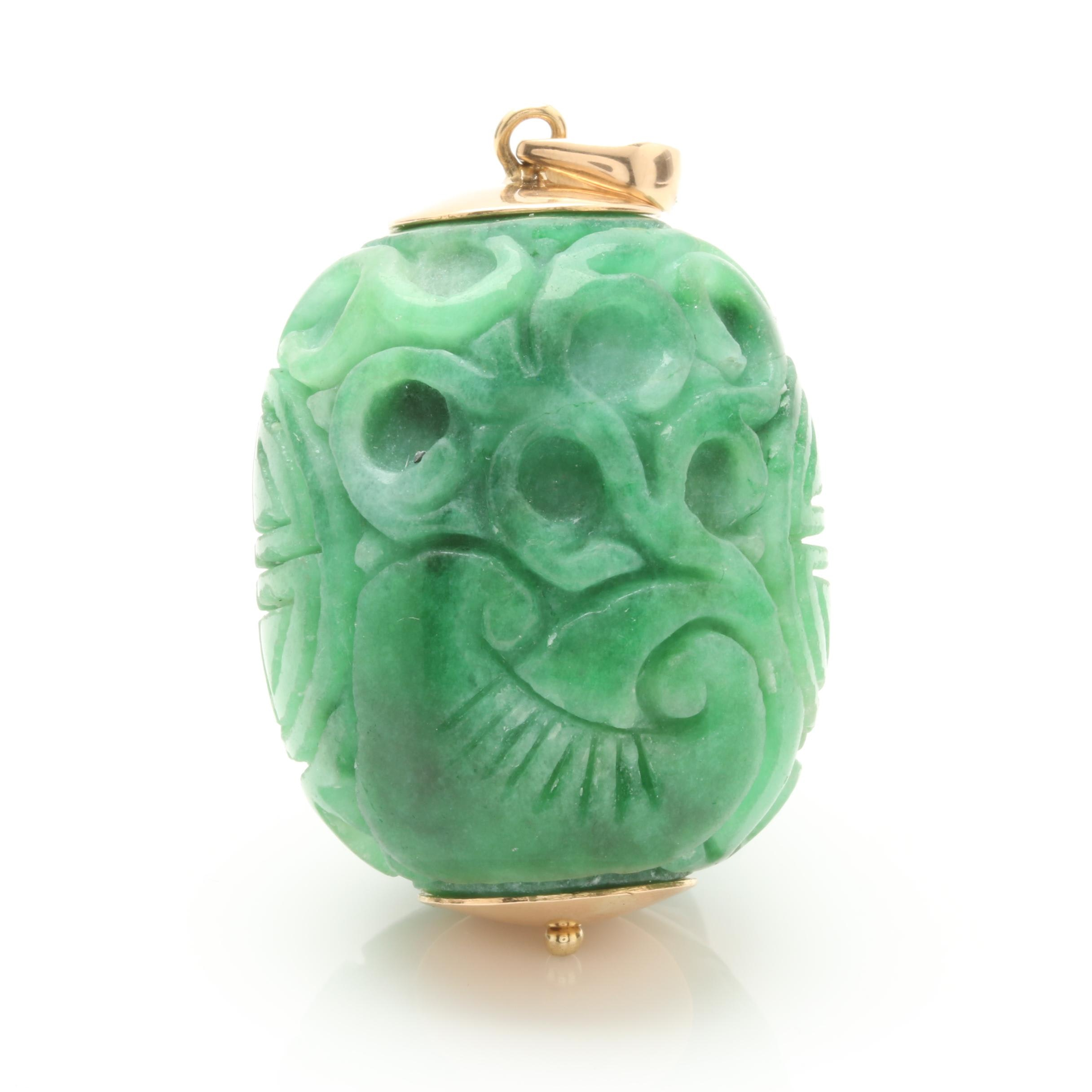 14K Yellow Gold Jadeite Carved Barrel Pendant