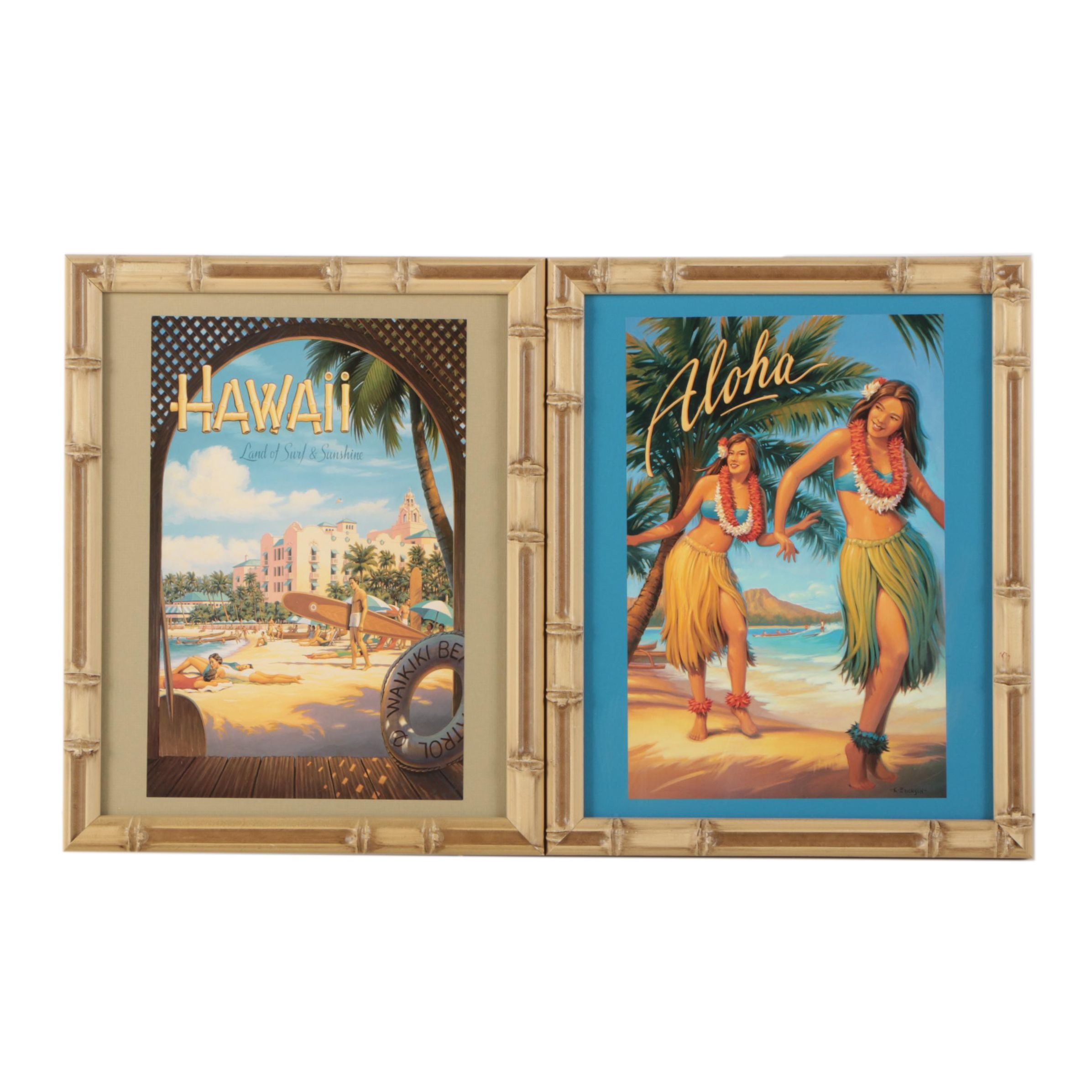 Reproduction Prints After Kerne Erickson of Hawaii Travel Advertisements