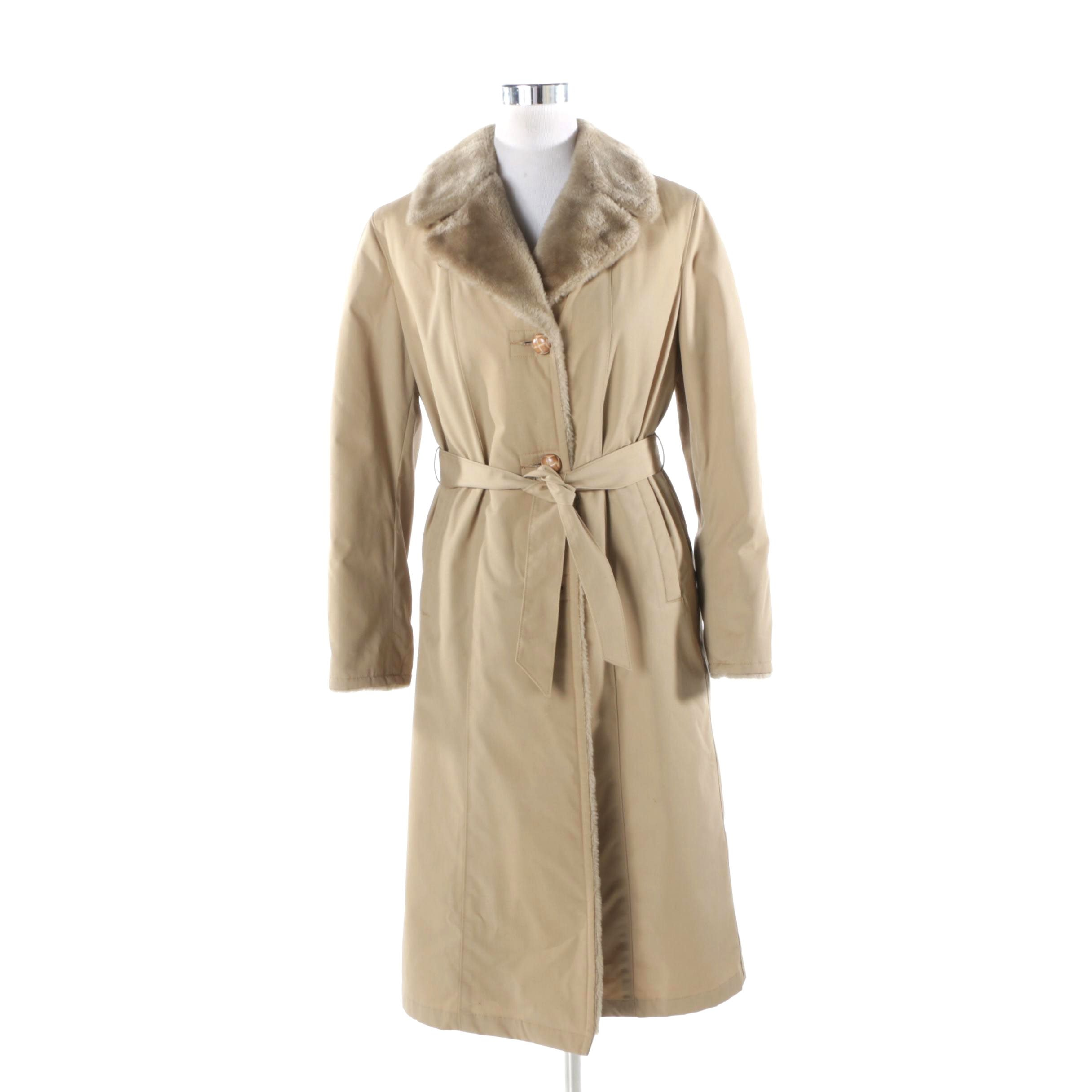 Vintage Mighty Mac Beige Coat with Faux Fur Lining