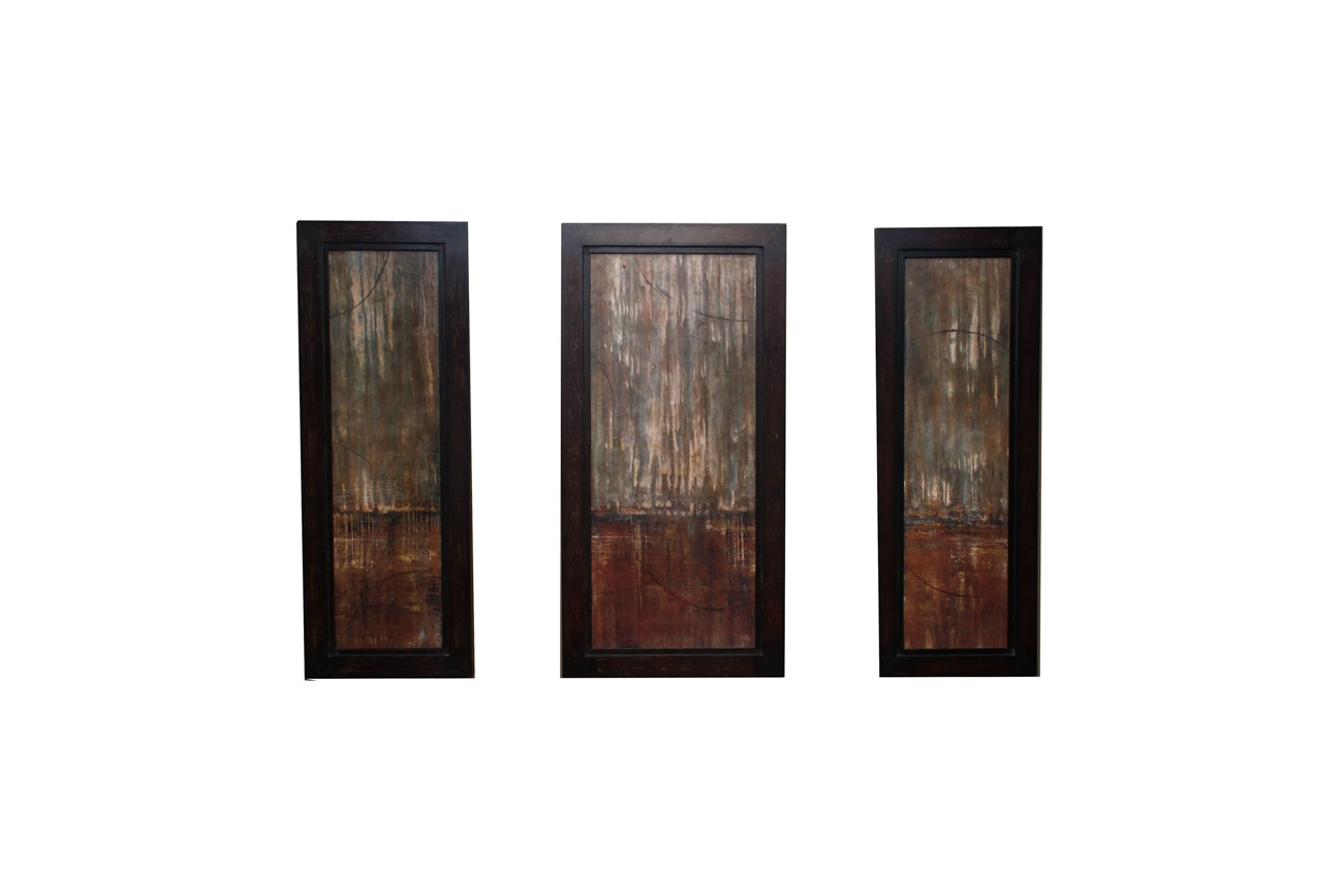 Abstract Mixed Media Triptych Print