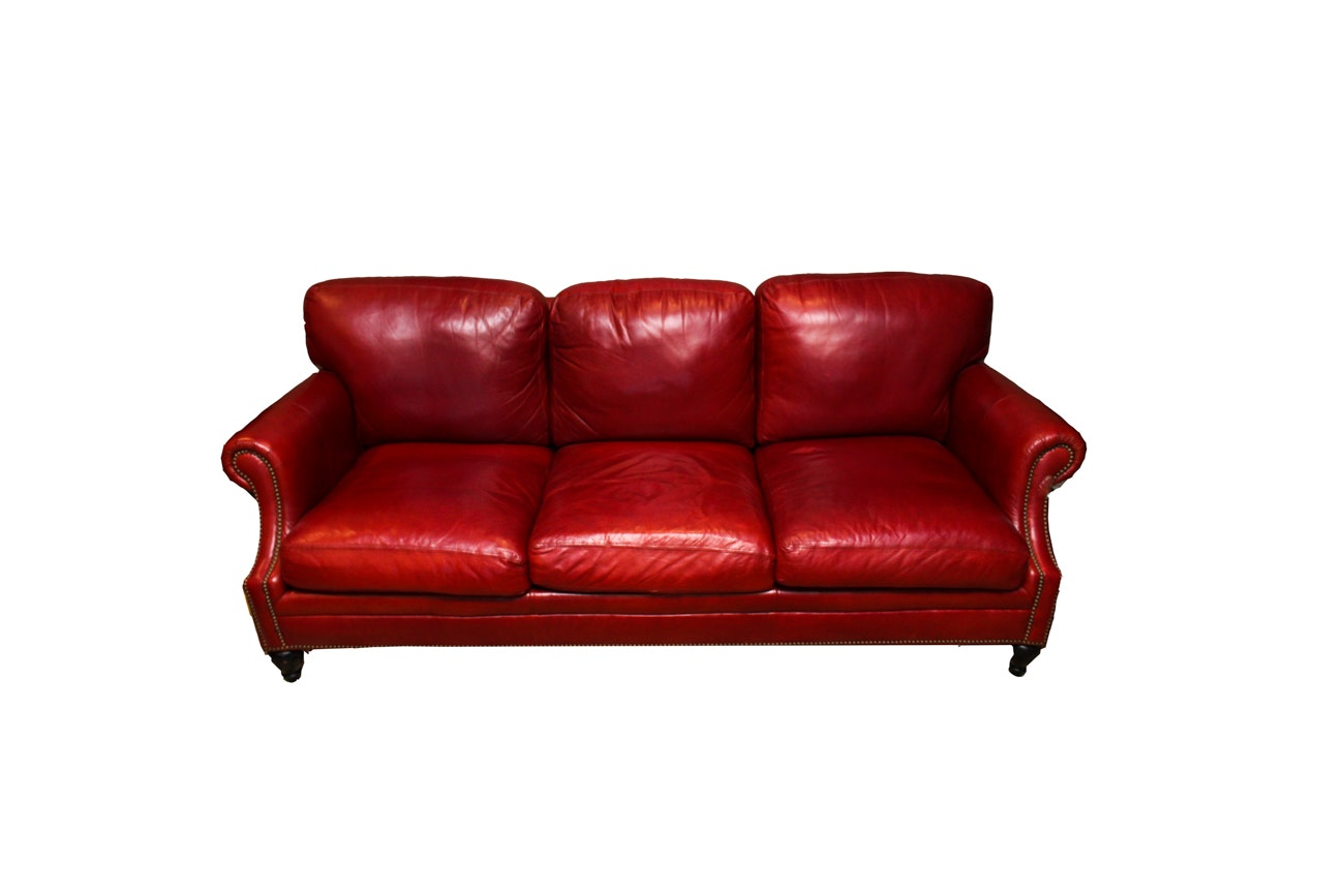 Bernhardt Red Leather Sofa