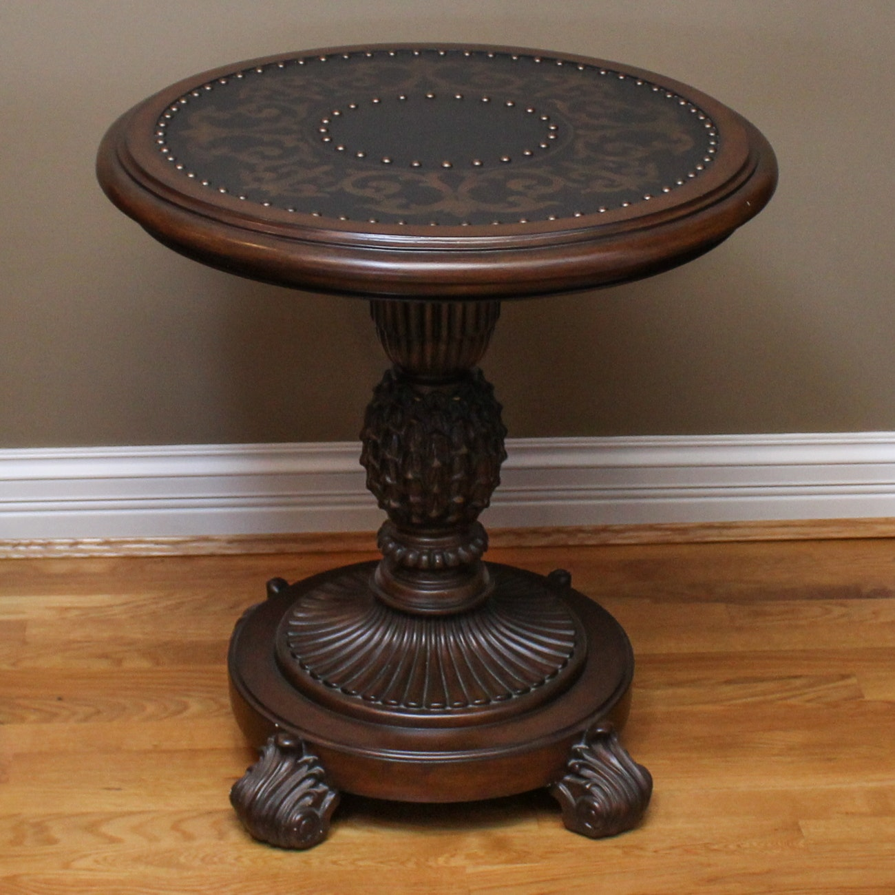 Circular Carved Pedestal Accent Table