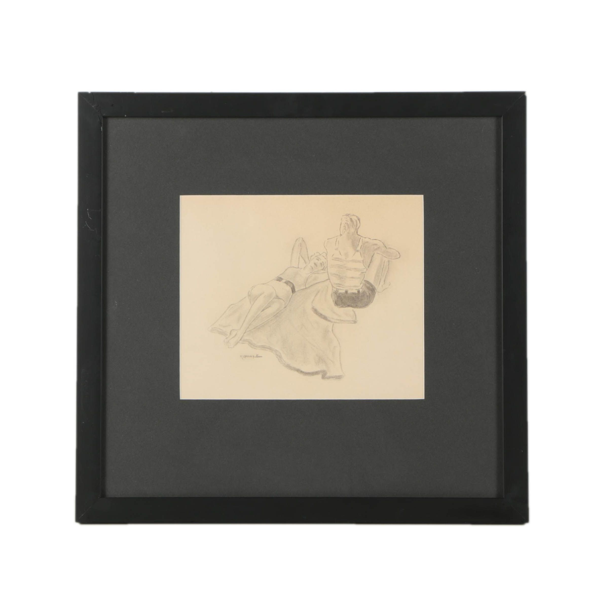 1931 Charcoal Drawing of Couple on the Beach