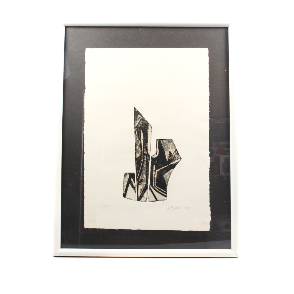 Me Jahn Limited Edition Embossed Ink Abstract Art