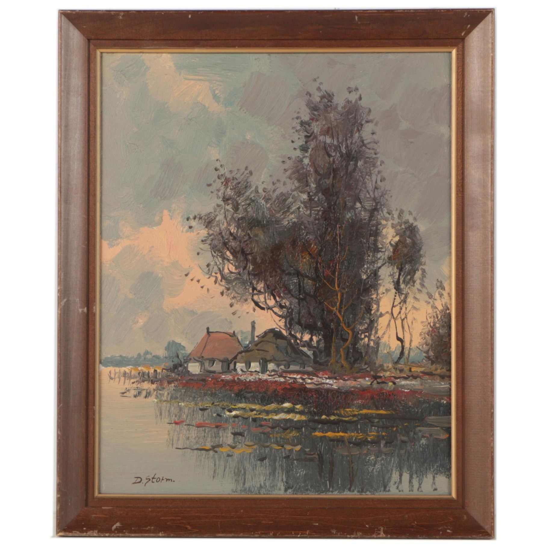 D. Storm Oil Painting of Lakeside Village