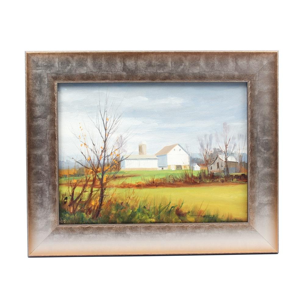 James Devore Oil Painting of Farm