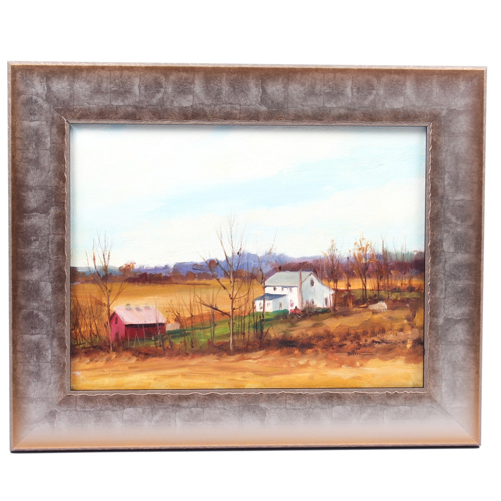 James Devore Oil Painting of Farmhouse
