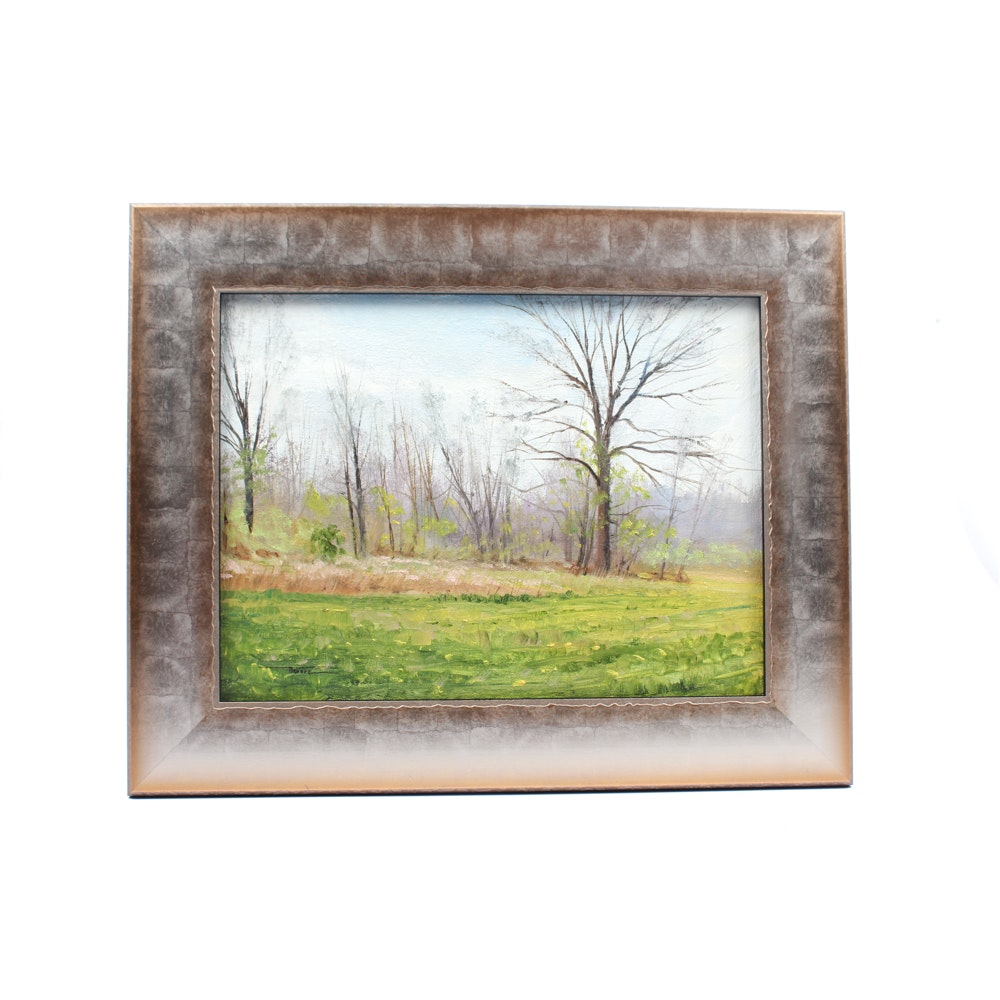 James Devore Oil Painting of Wooded Landscape