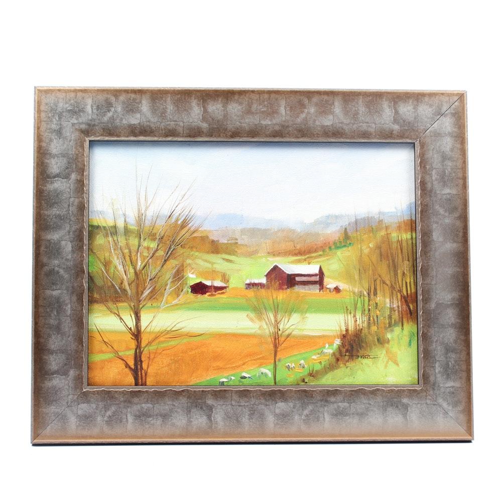 James Devore Oil Painting of Pastoral Landscape