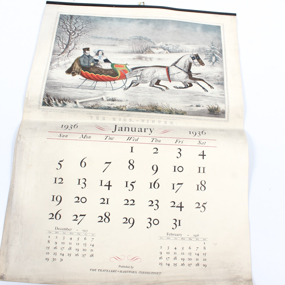1936 Currier and Ives Calendar