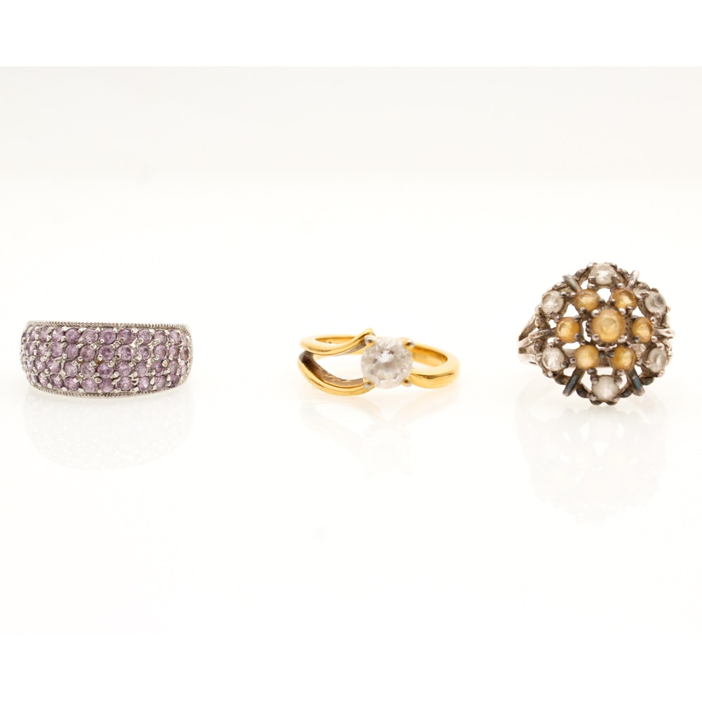 Sterling Silver and Imitation Gemstone Rings