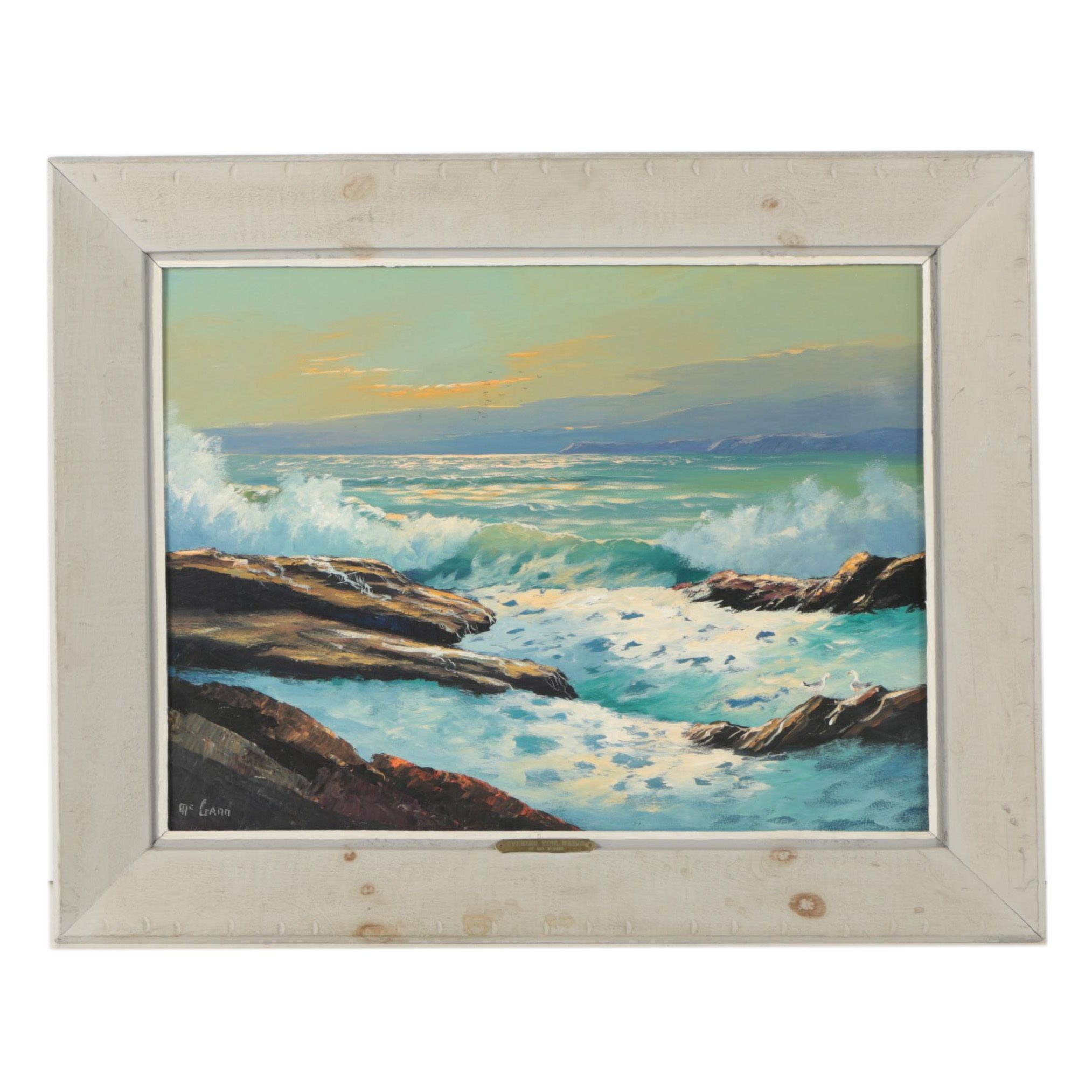 "Val McGann Oil Painting ""Evening Tide, Maine"""