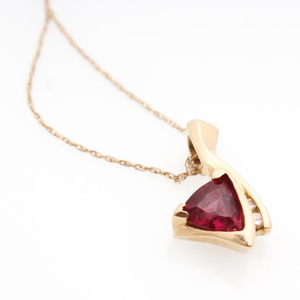 14K Yellow Gold Rhodalite Garnet Diamond Necklace