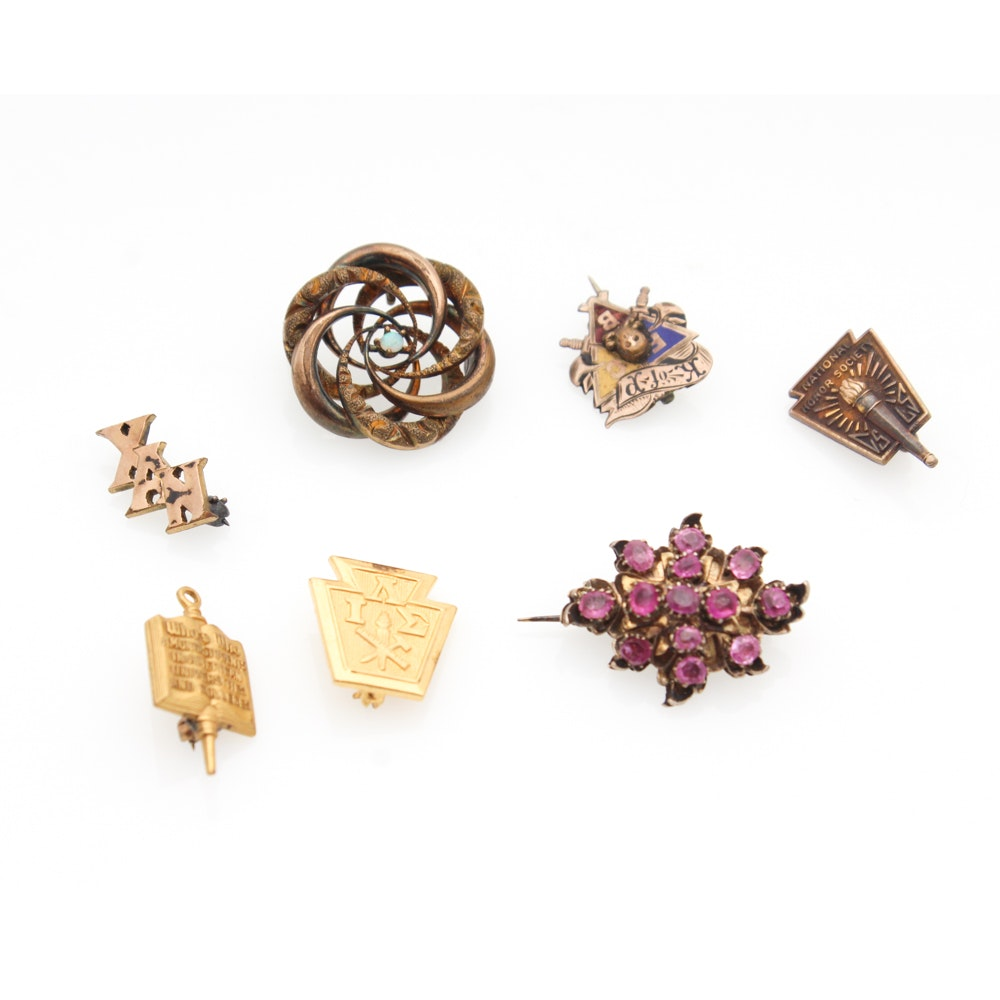 Gold Filled and Gold Washed Ruby, Opal Brooches and Lapel Pins