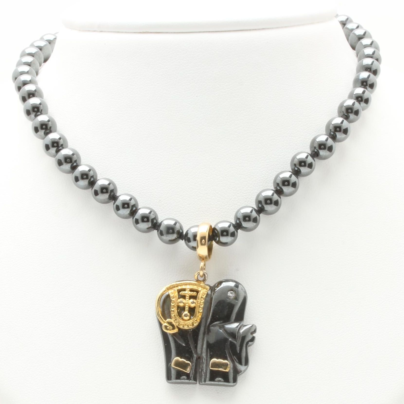14K and 18K Yellow Gold Hematite and Diamond Necklace