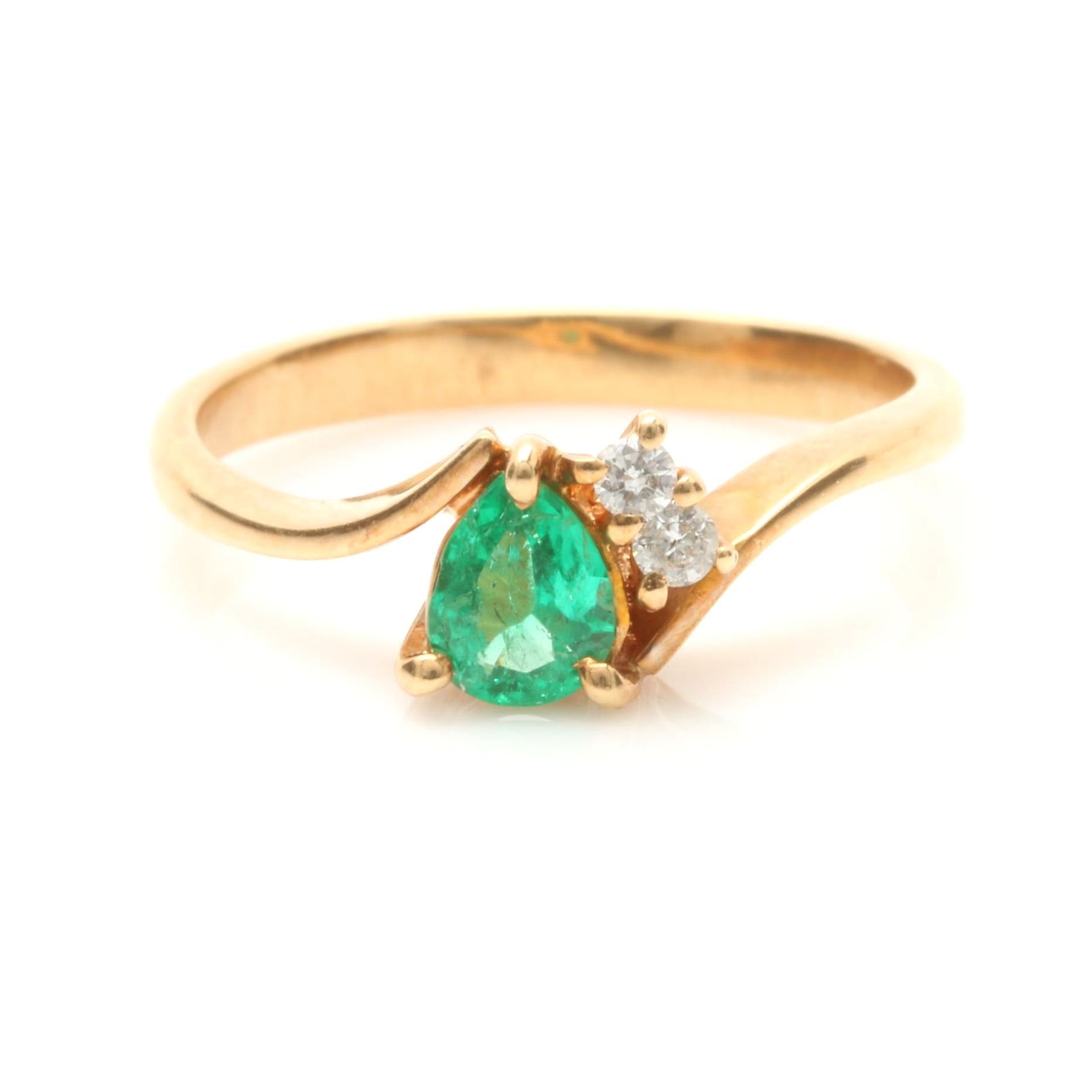18K Yellow Gold Synthetic Emerald and Diamond Ring