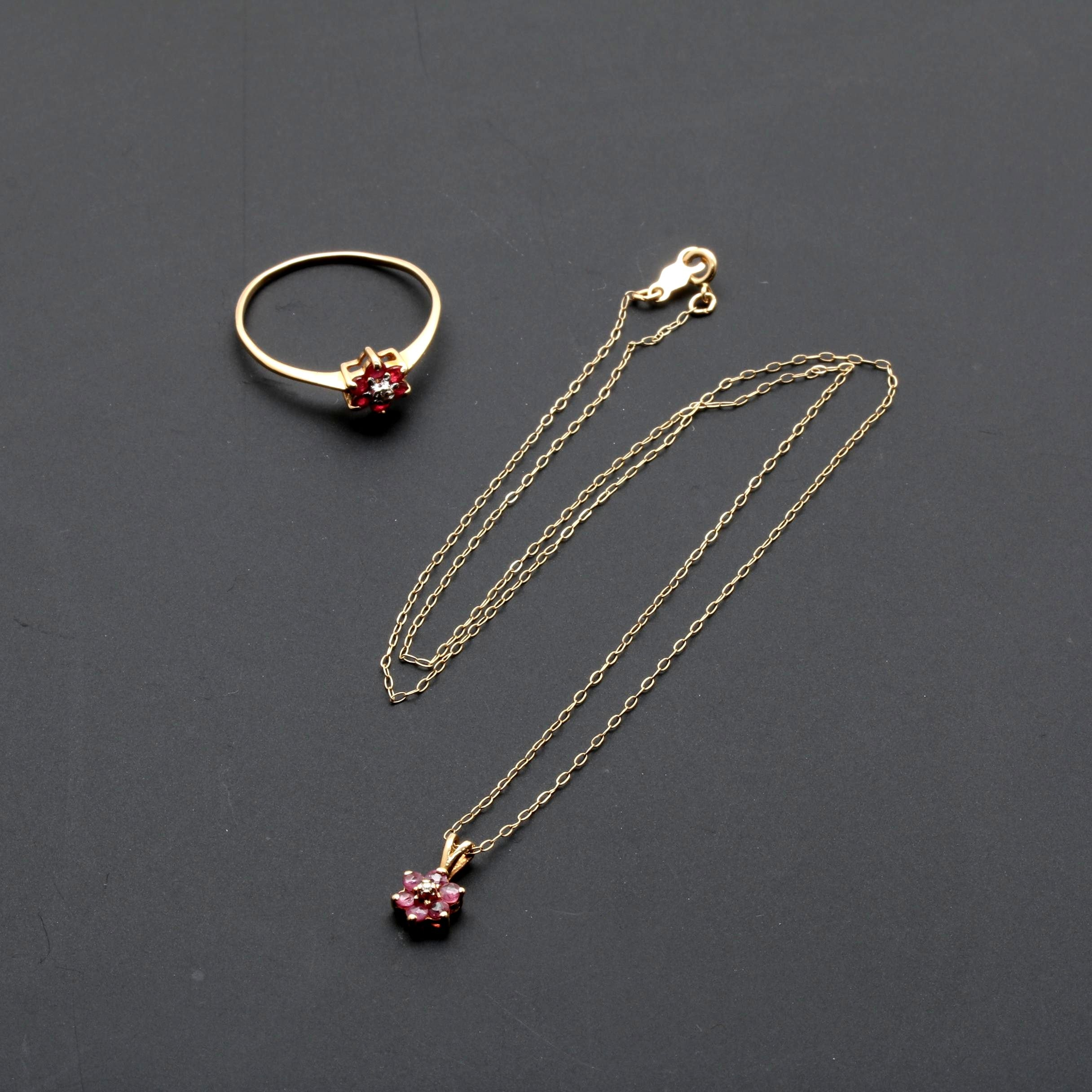 10K and 14K Yellow Gold Ruby and Diamond Floral Demi Parure