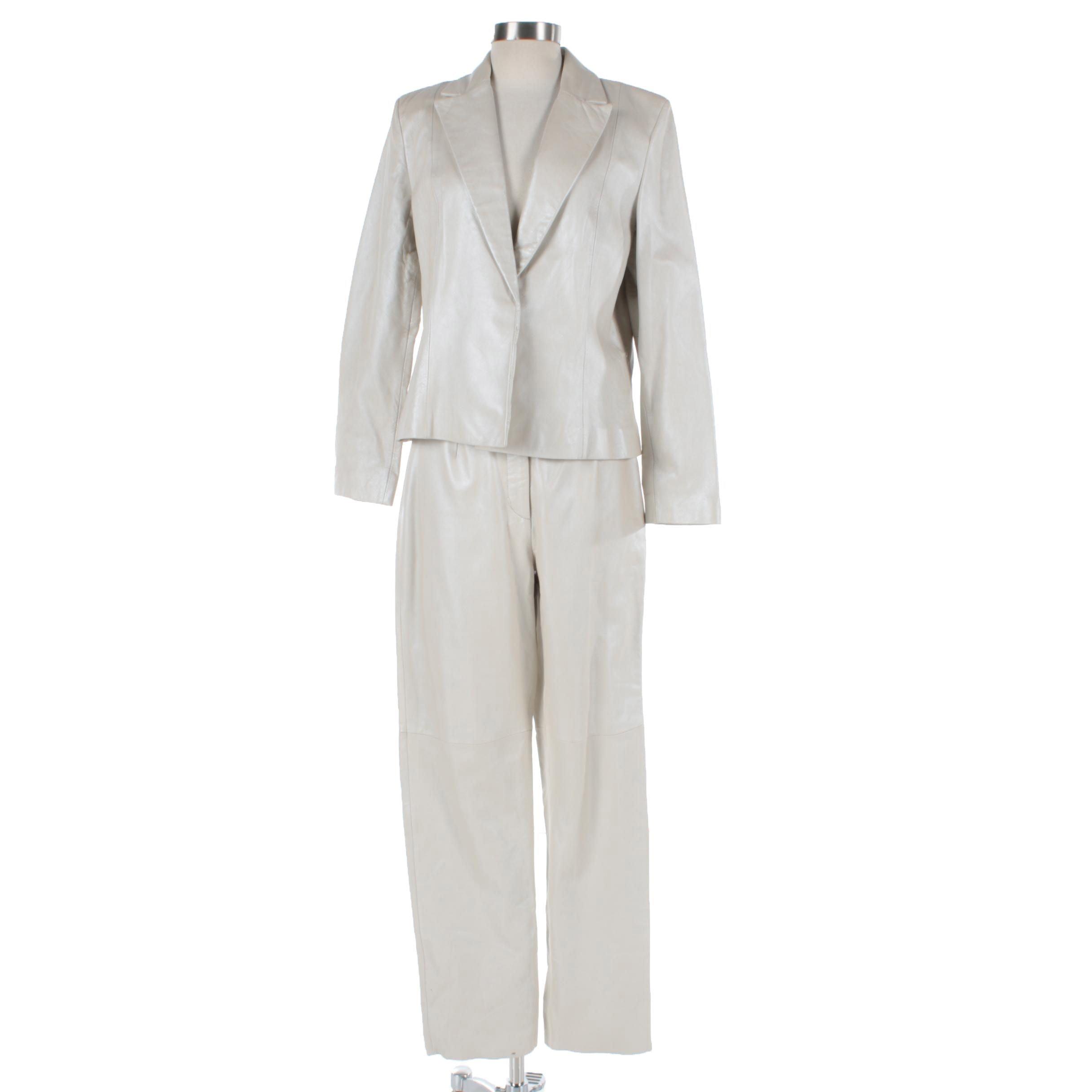 Siena Studio Pearl Sheen Ivory Leather Pantsuit