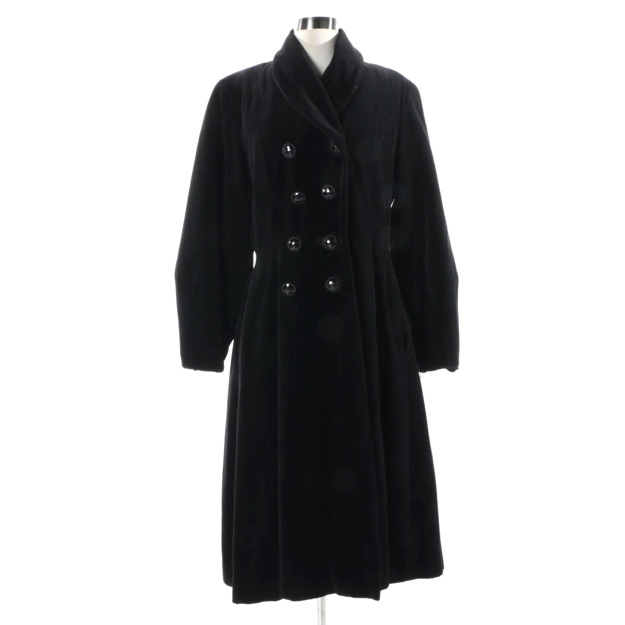 Women's Vintage Black Velvet Coat