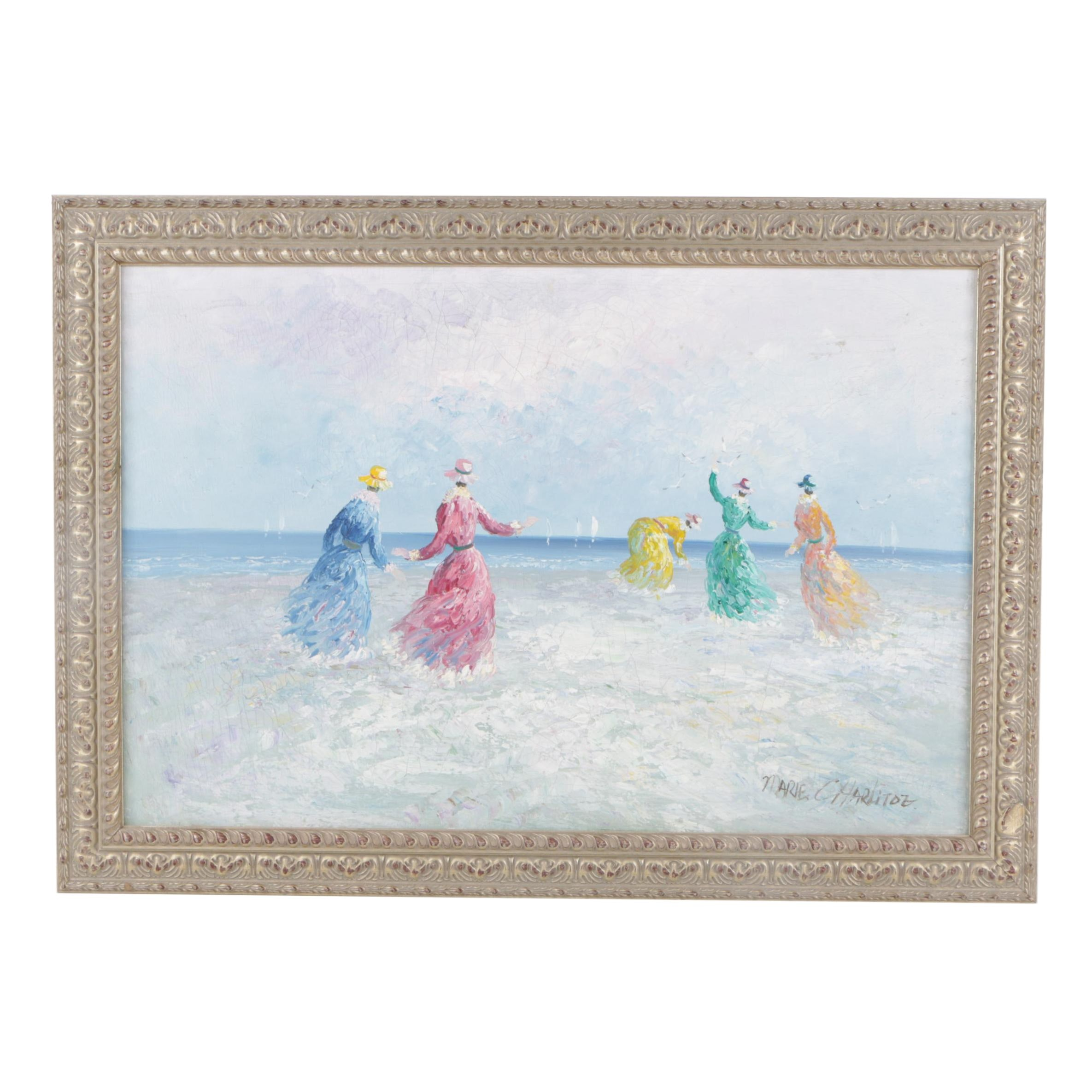 Oil Painting of a Whimsical Beach Landscape