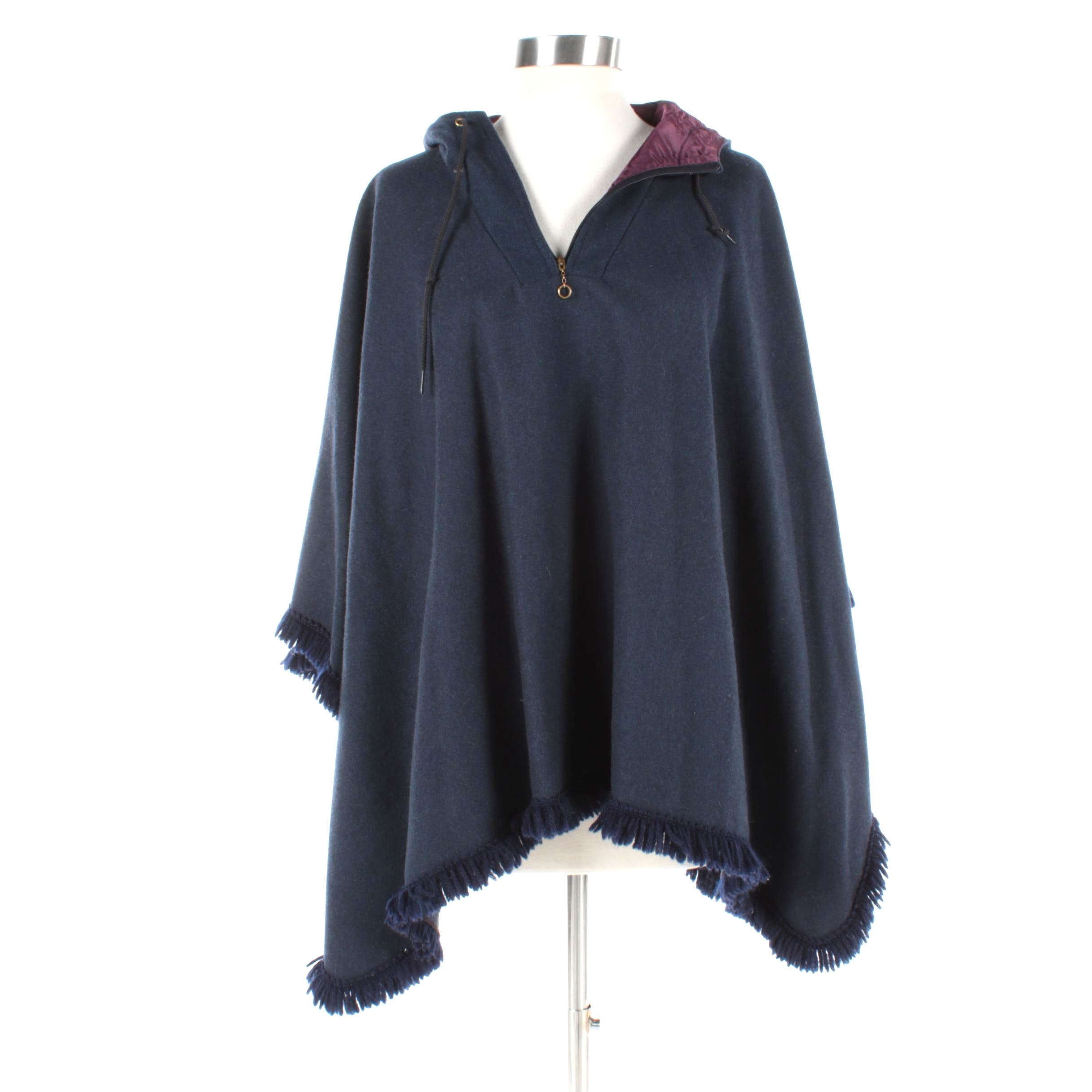 Women's Navy Blue Wool Hooded Poncho