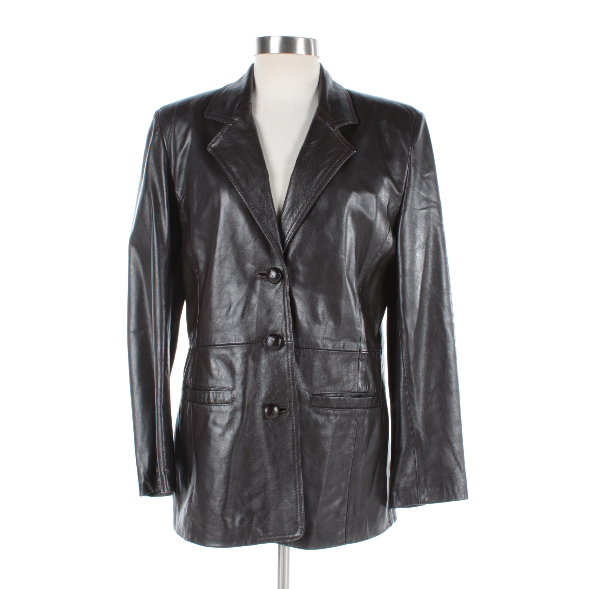 Women's G.V. Creazioni Black Leather Single-Breasted Jacket