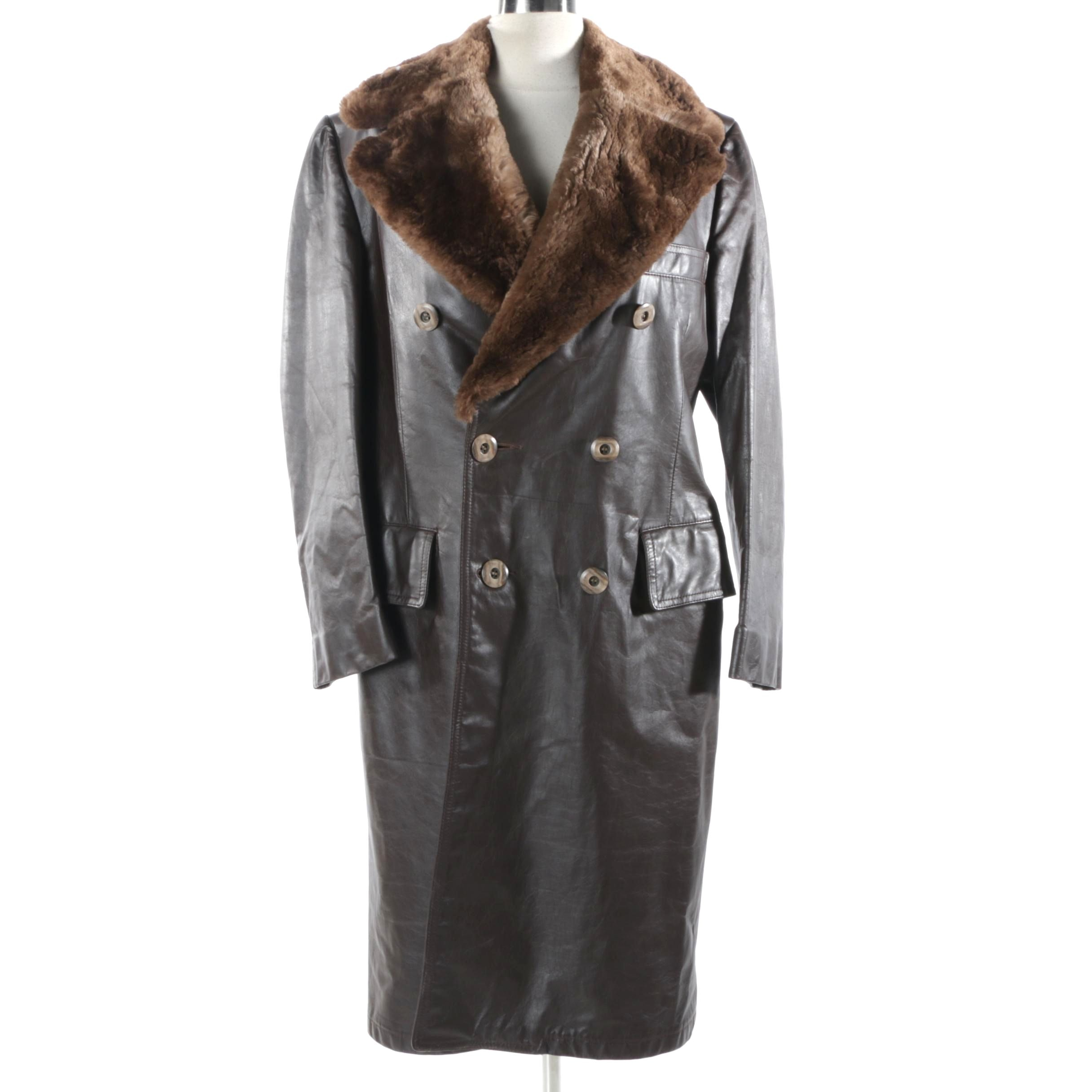 Men's Vintage Brown Leather Coat with Sheared Beaver Fur Collar