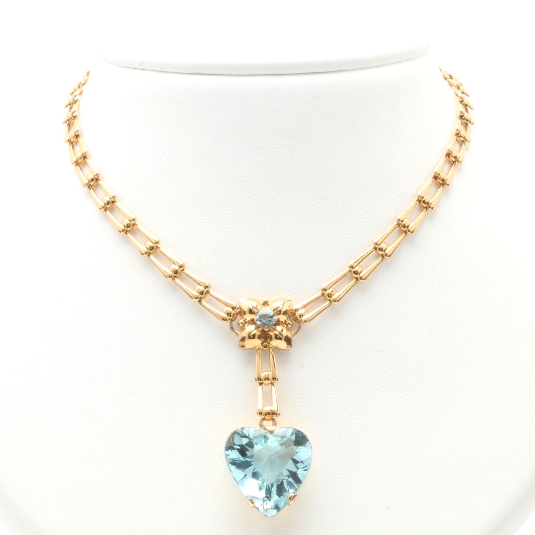 14K Yellow Gold 16.50 CT Aquamarine Heart Pendant Necklace