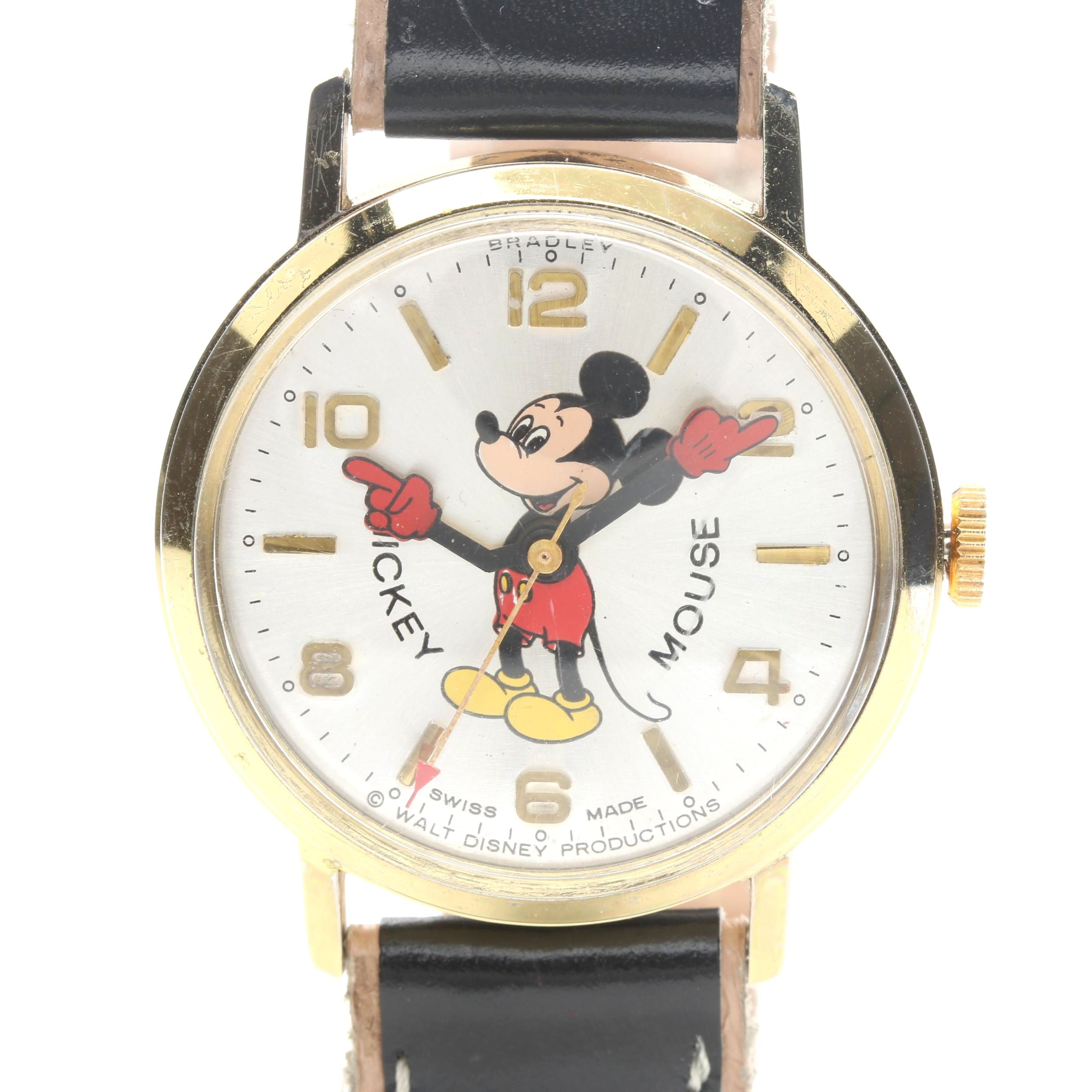 Bradley for Disney Mickey Mouse Gold Tone and Leather Wristwatch