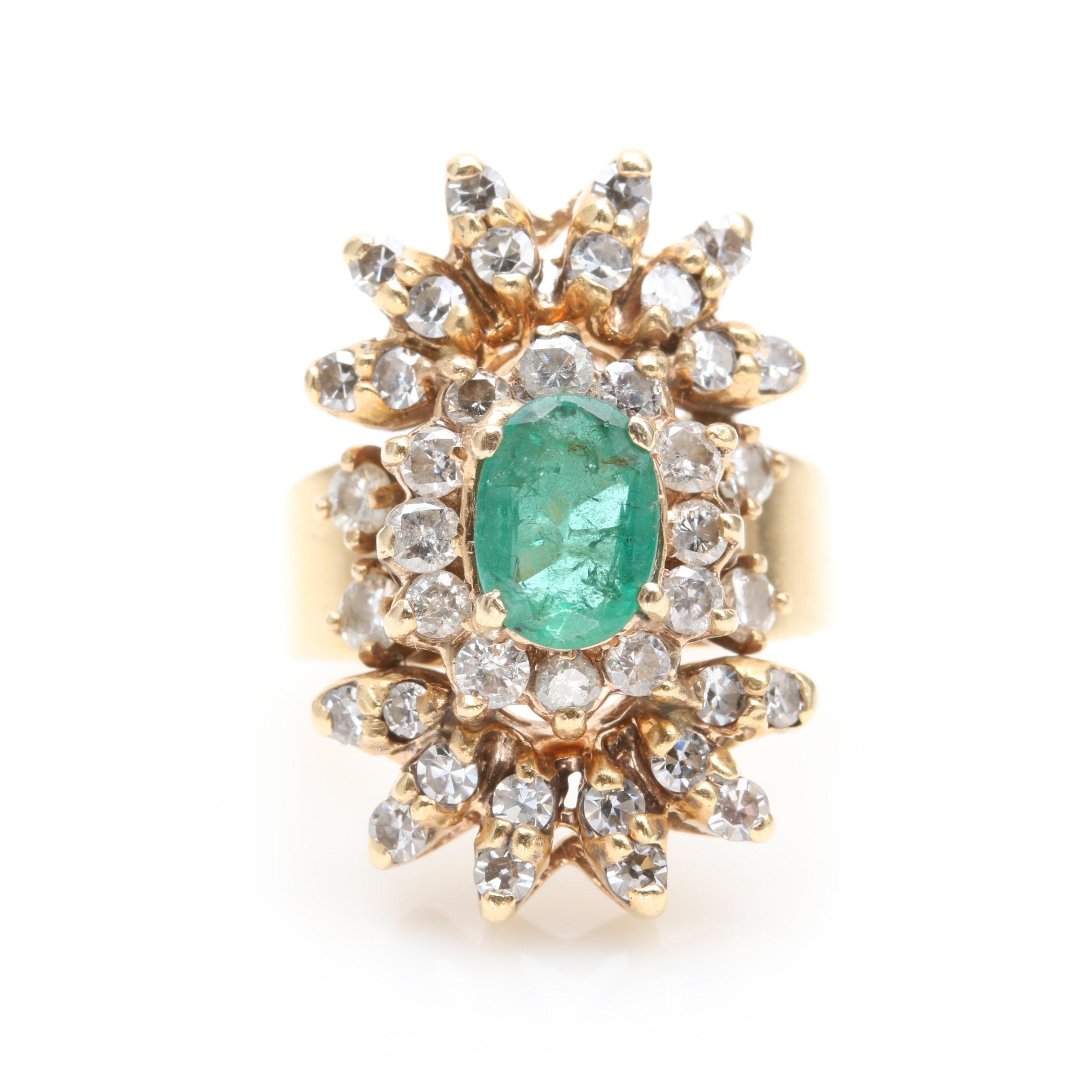 14K Yellow Gold Emerald and 1.12 CTW Diamond Ring