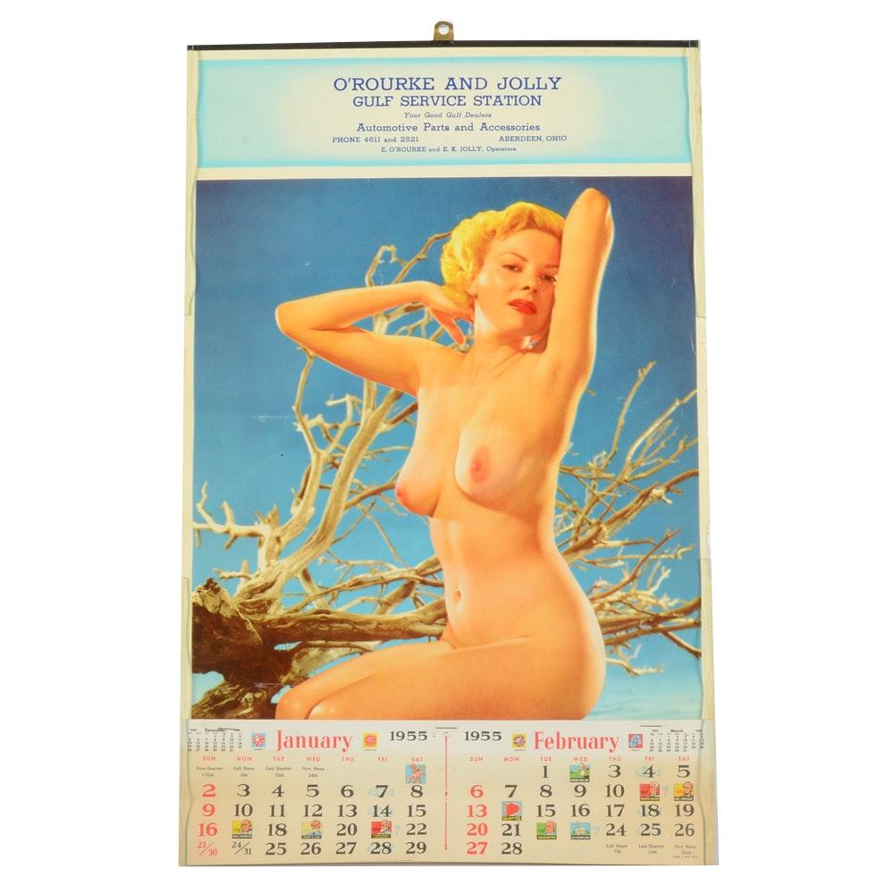 Vintage 1955 Jolly Gulf Nude Pinup Calendar