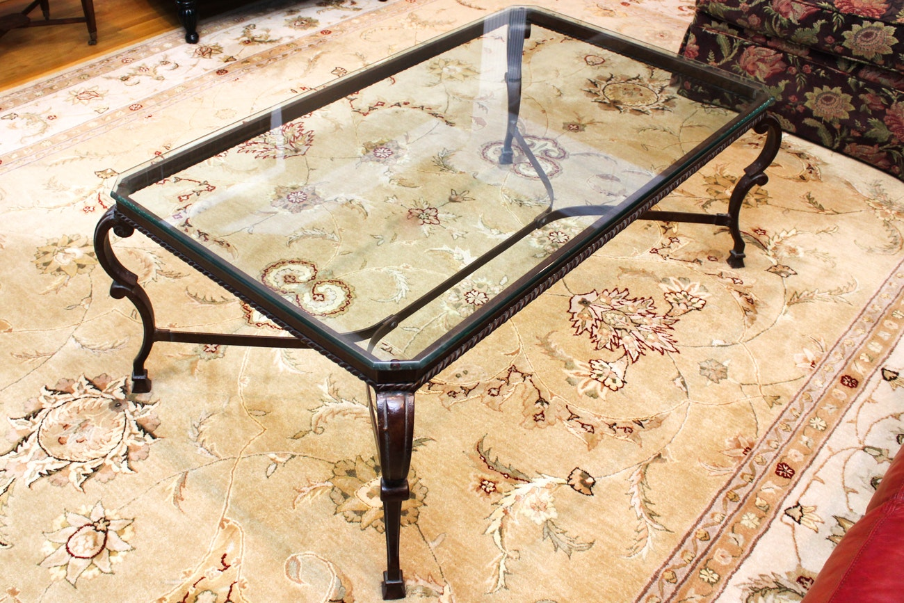 Glass and Cast Iron Coffee Table