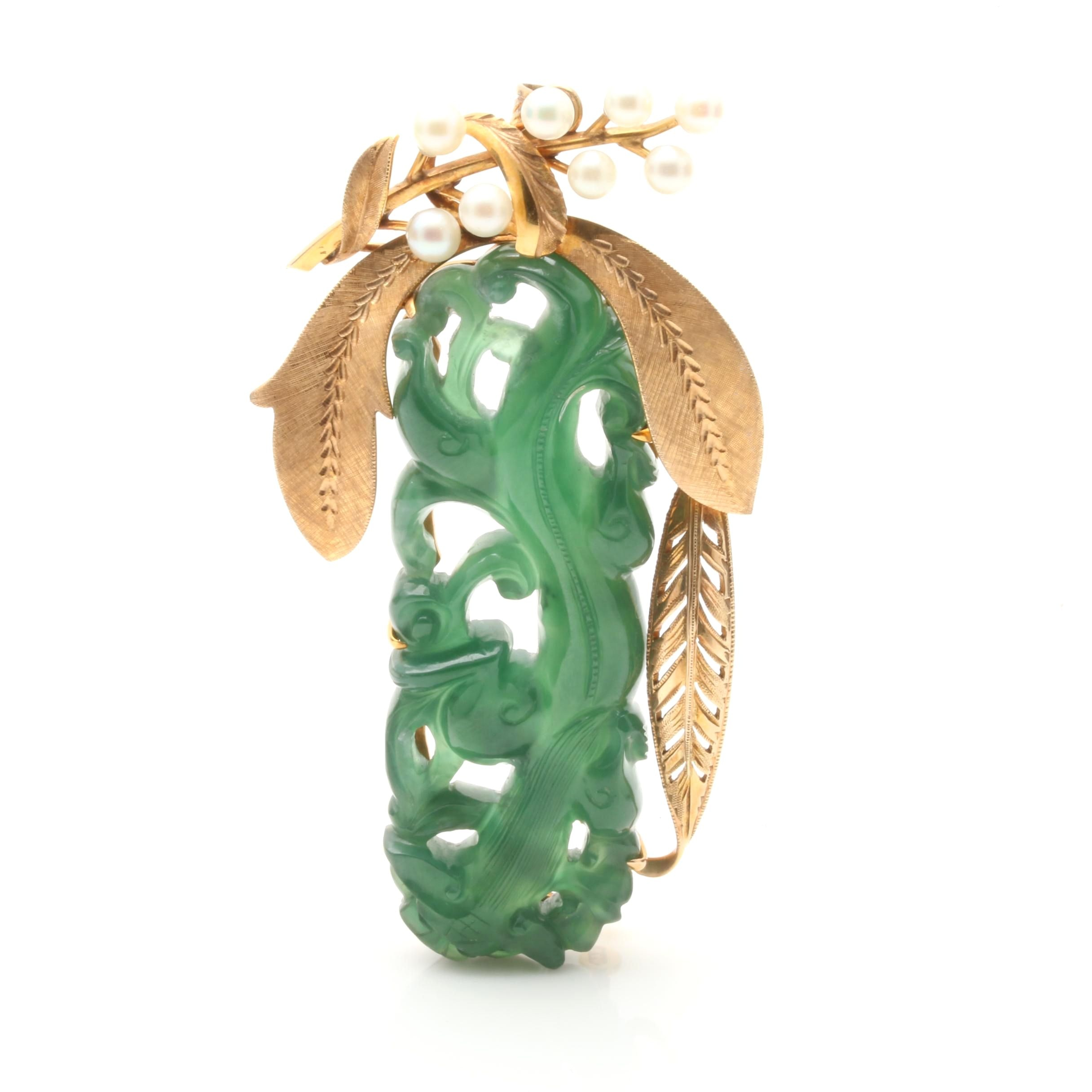 14K Yellow Gold Jadeite and Cultured Pearl Converter Brooch