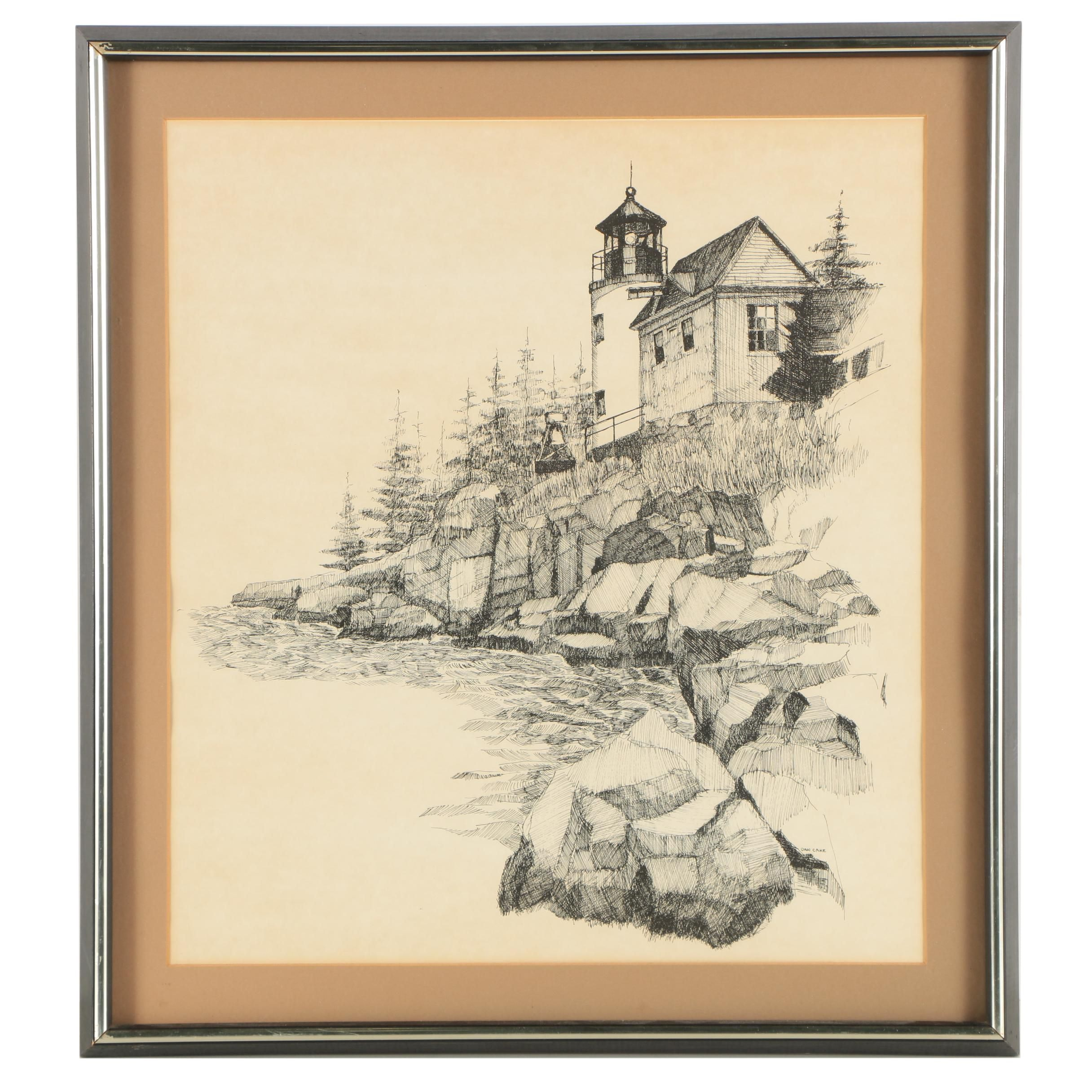 Lithograph After Dan Cake of Lighthouse Along Rocky Coast