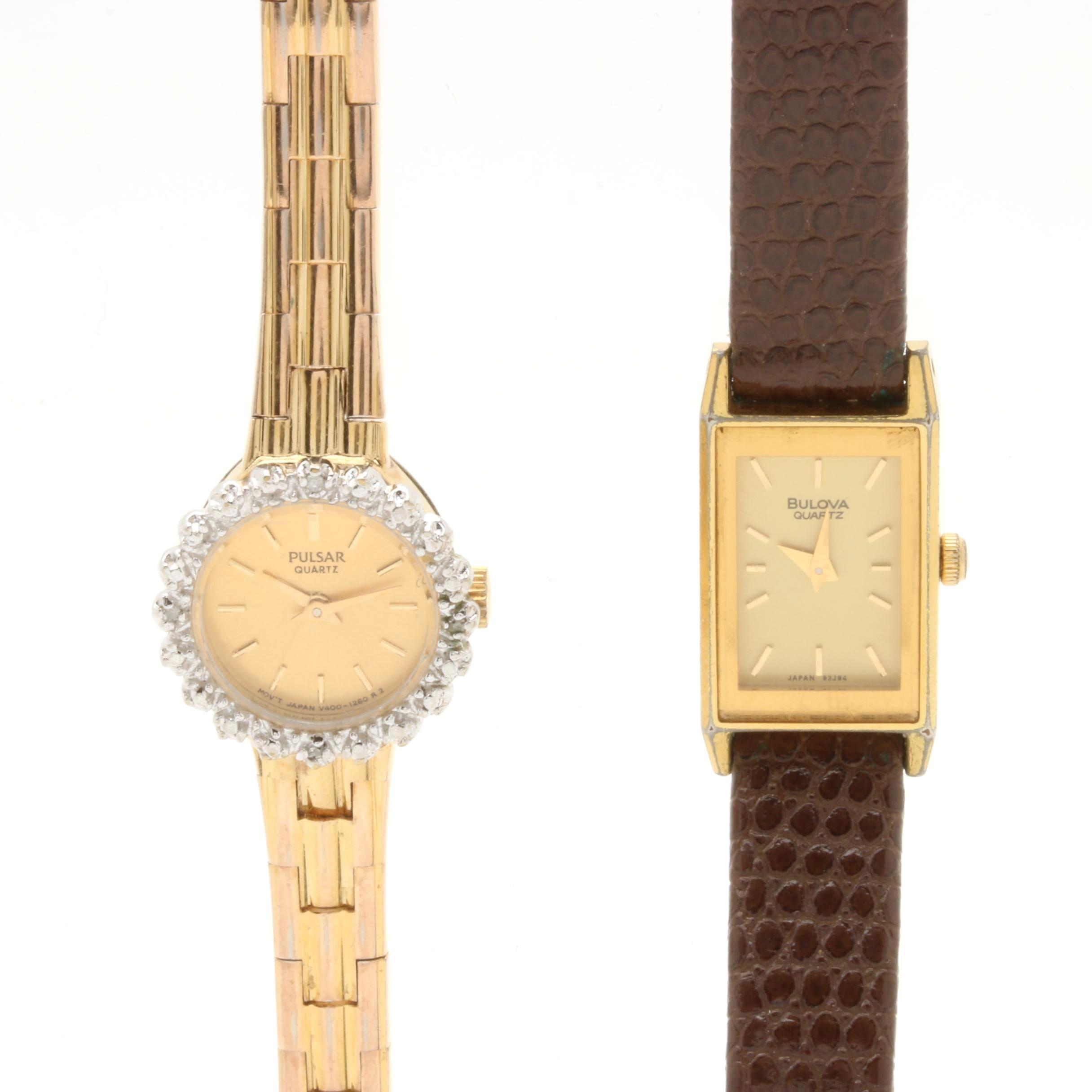 Pulsar and Bulova Gold Tone Diamond Wriswatches
