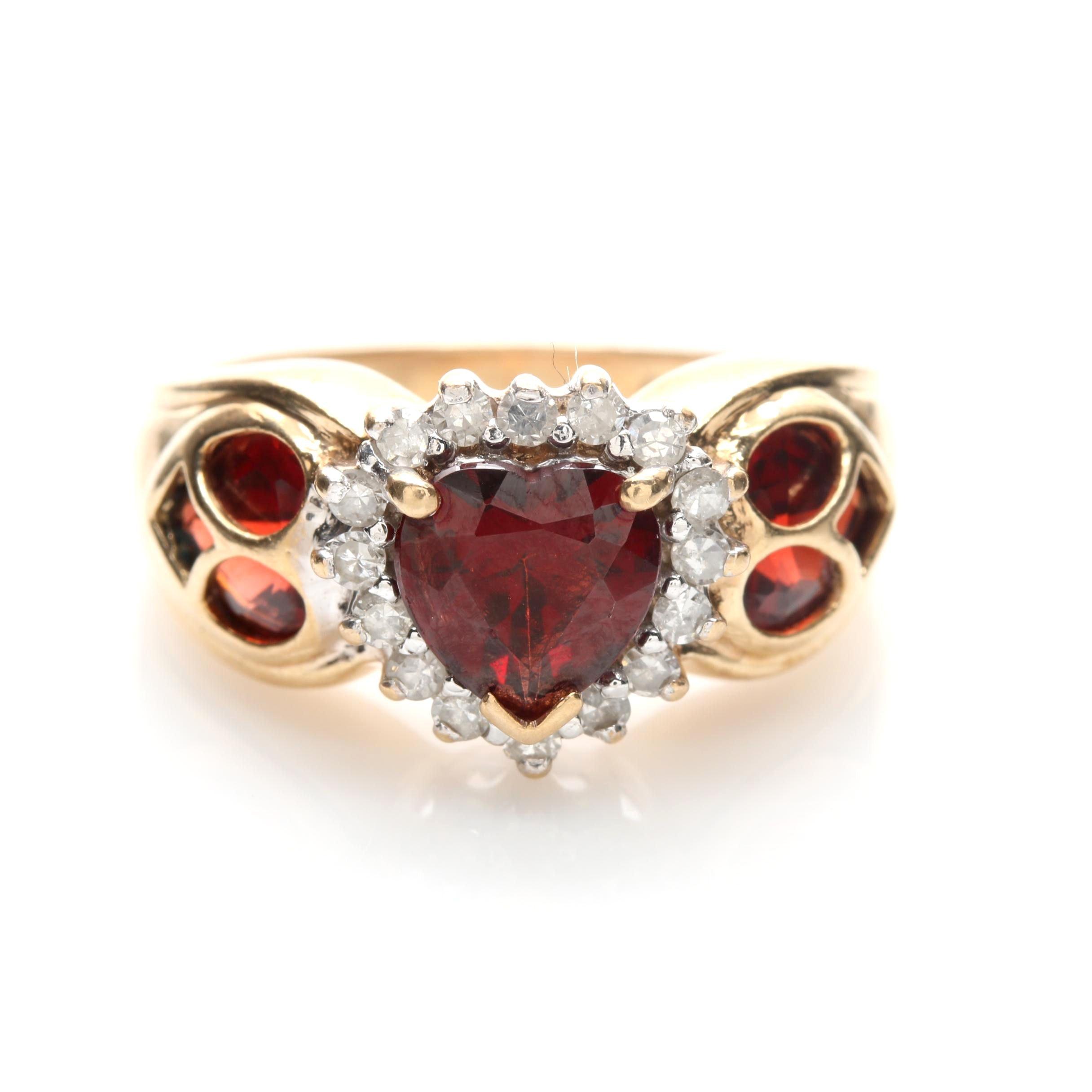 14K Yellow Gold Garnet and Diamond Heart Ring