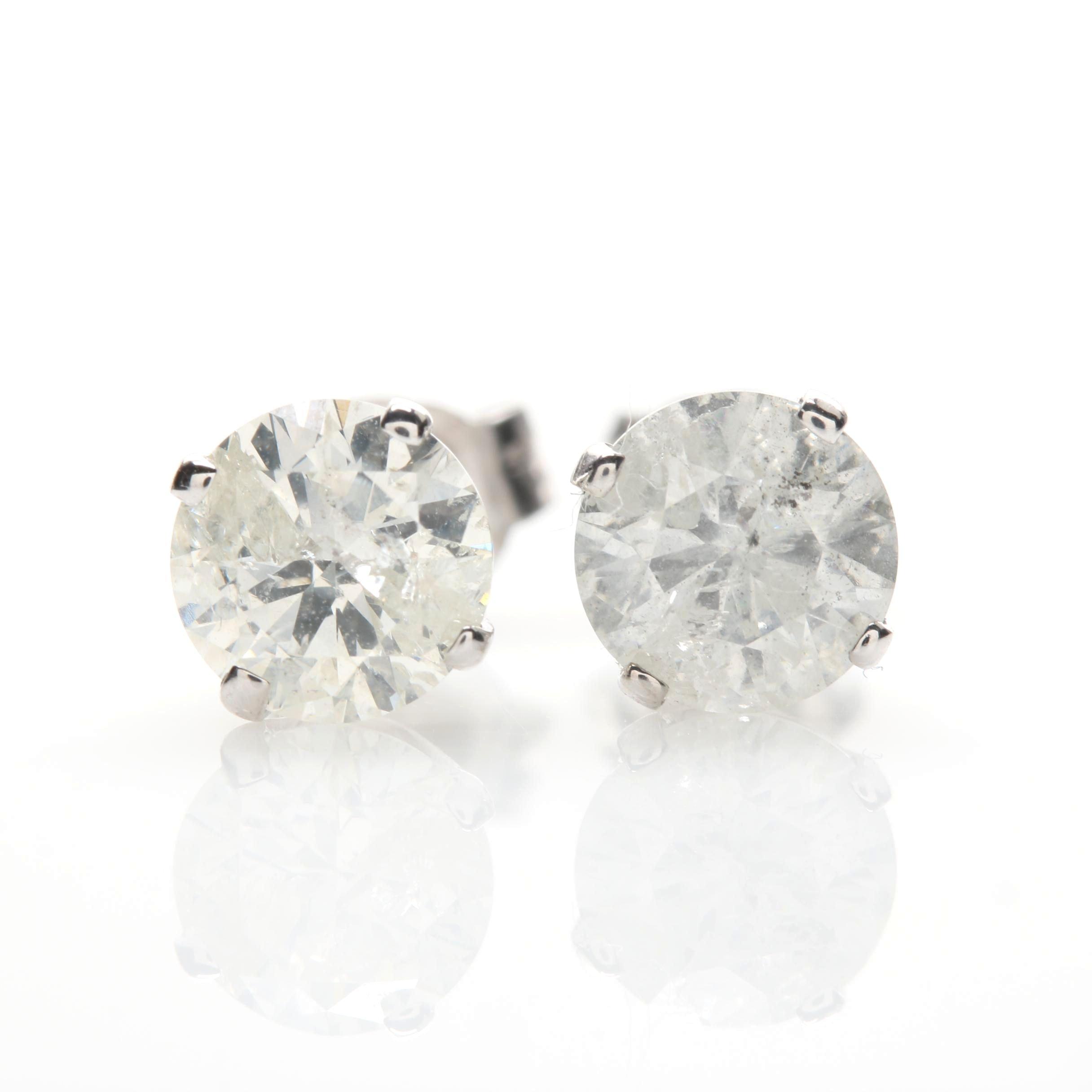 14K White Gold 1.81 CTW Diamond Earrings