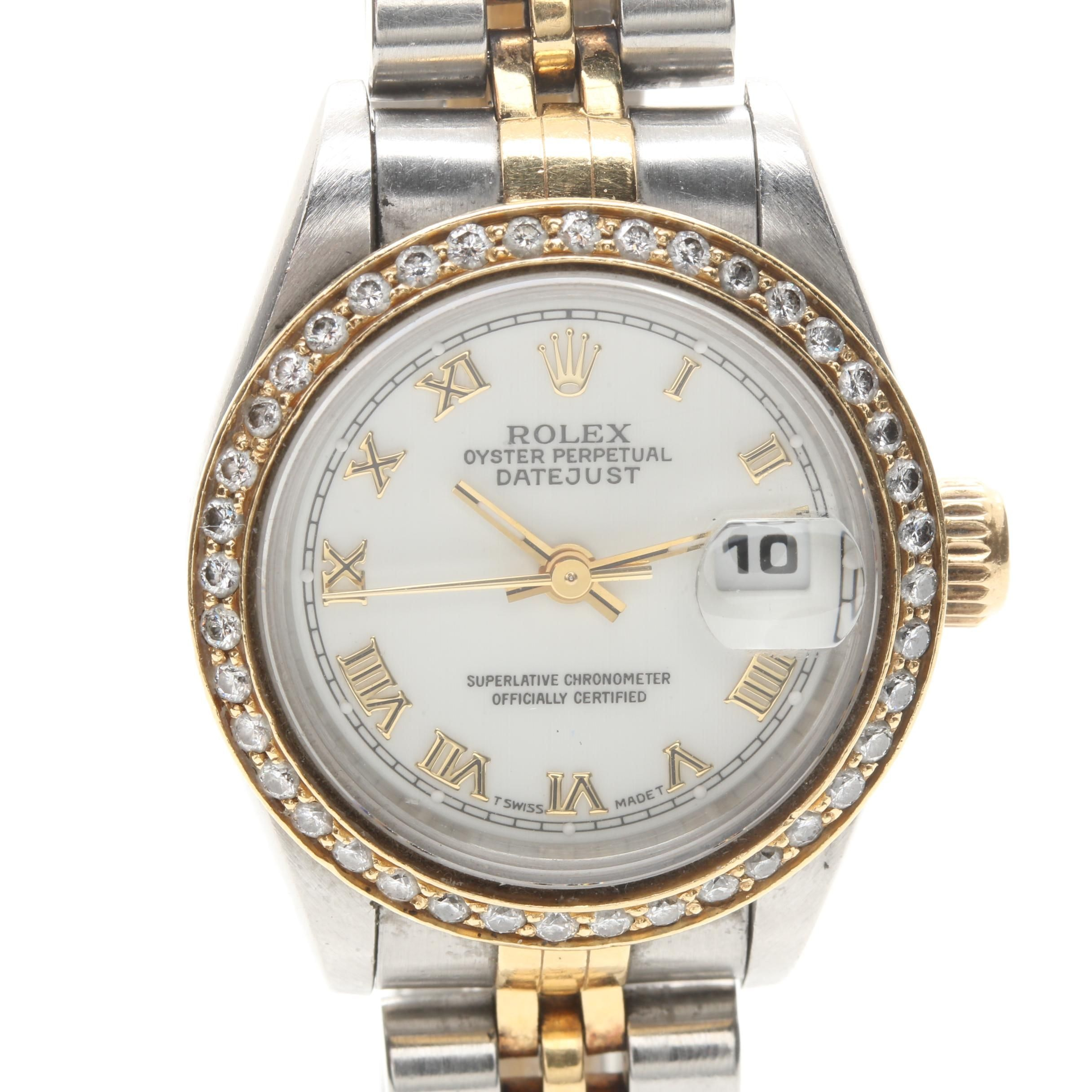 Rolex Oyster Perpetual Datejust Stainless Steel, 18K and Diamond Wristwatch