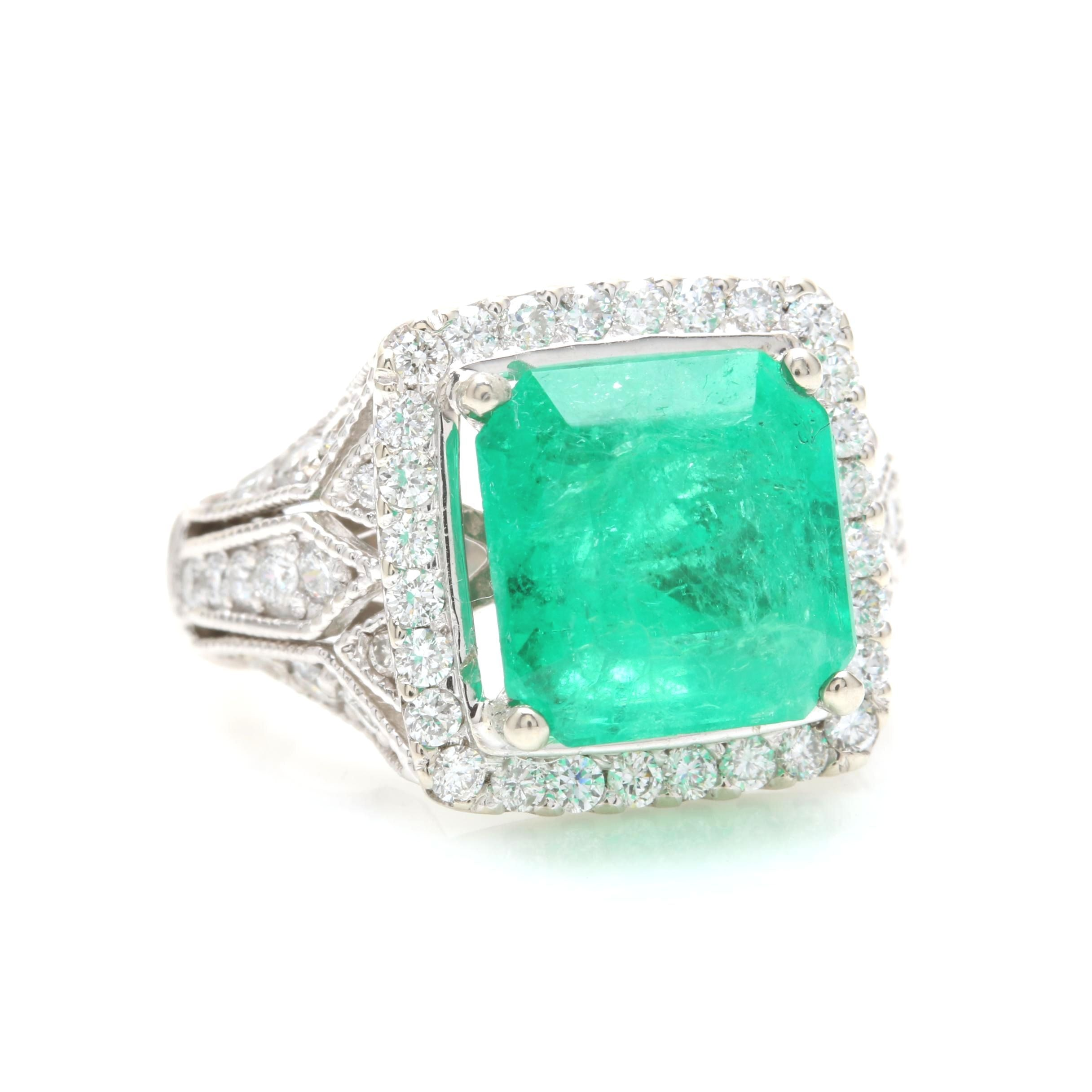 14K White Gold 7.72 CT Emerald and 1.33 CTW Diamond Ring
