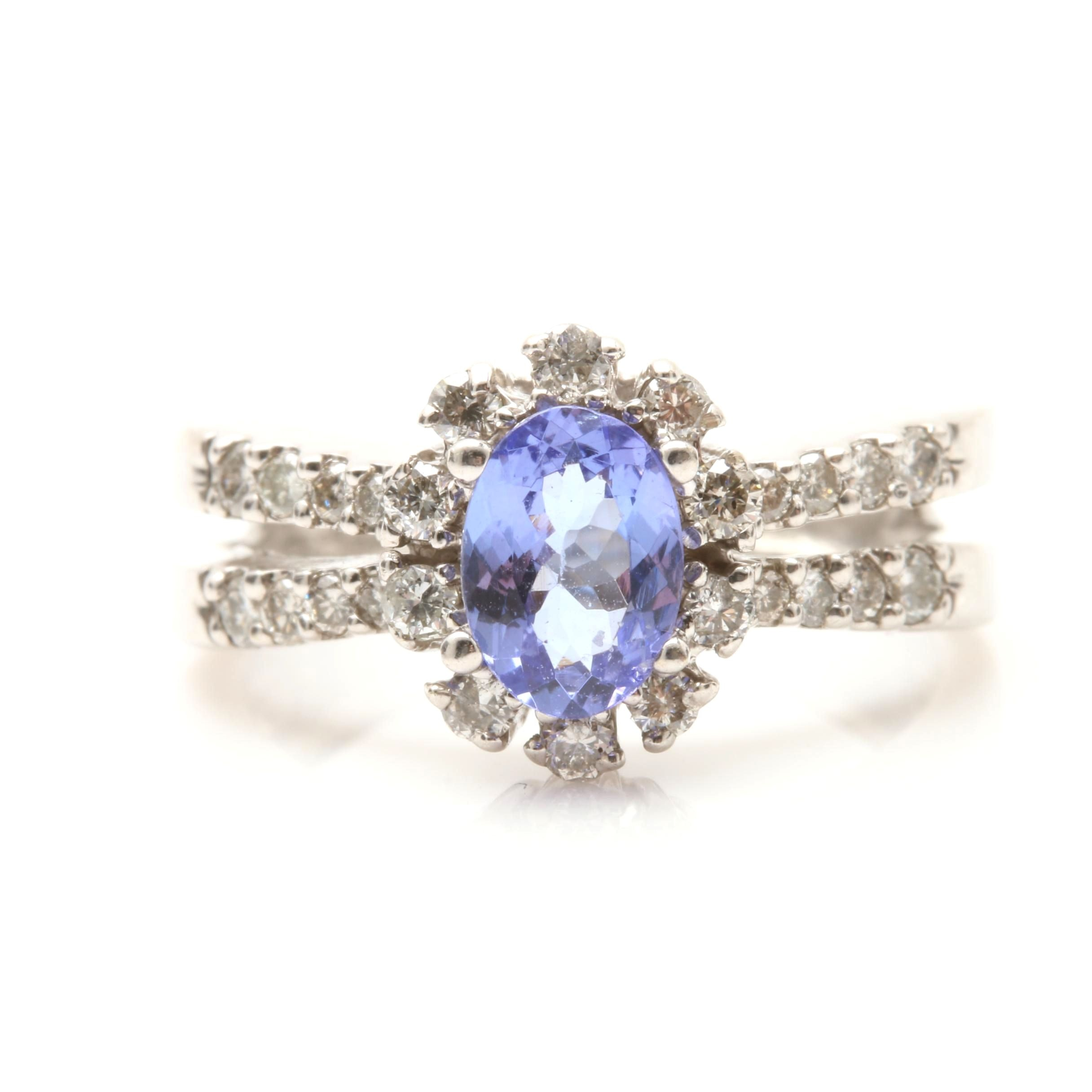 14K White Gold Tanzanite and Diamonds Ring